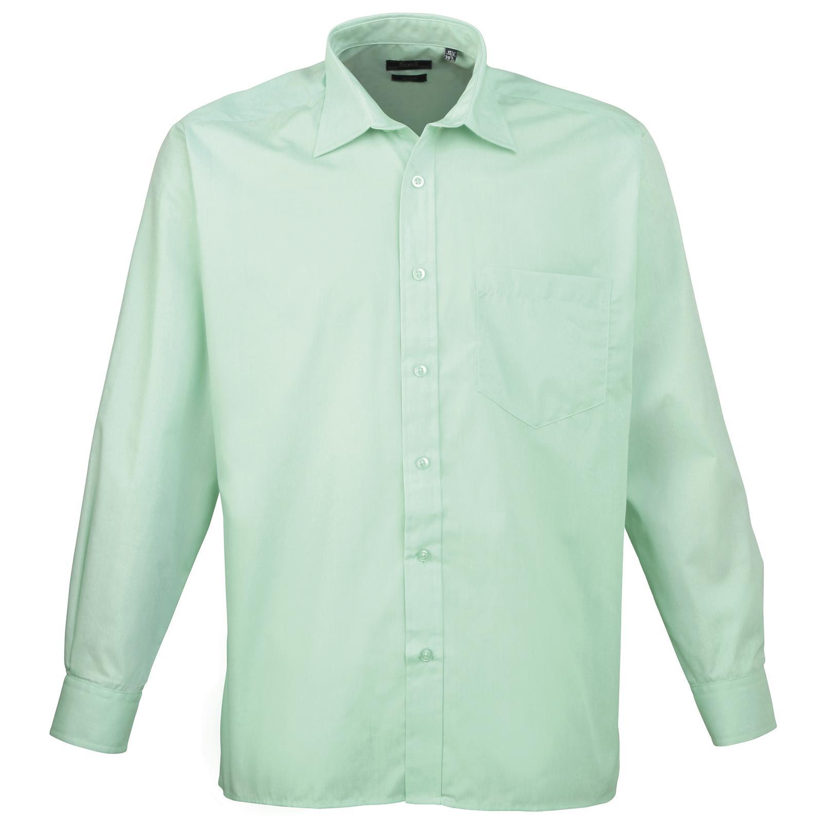 New Premier Mens Business Work Smart Long Sleeve Poplin Shirt 24