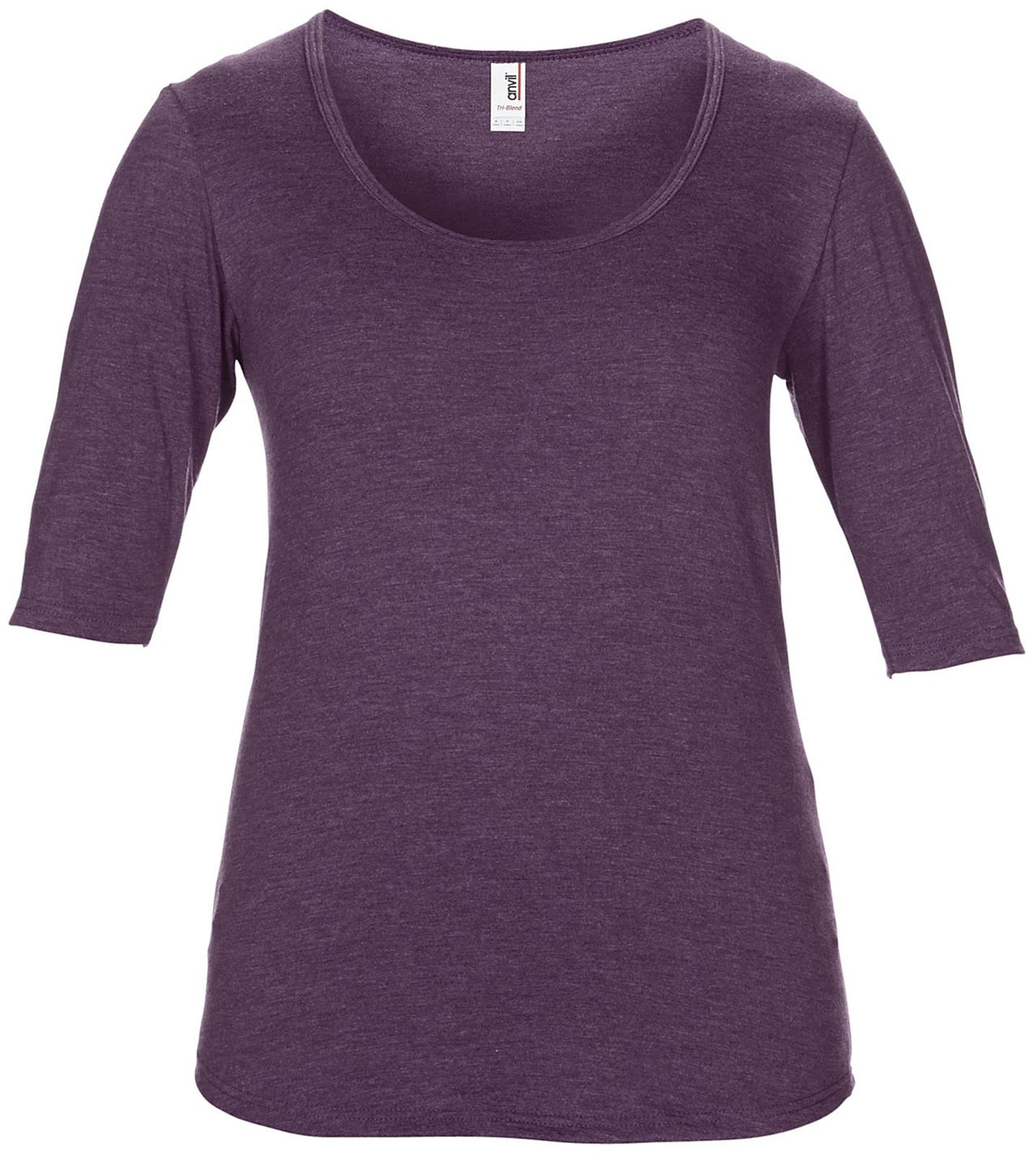 New womens anvil tri blend deep scoop neck 1 2 sleeved t for Deep scoop neck t shirt