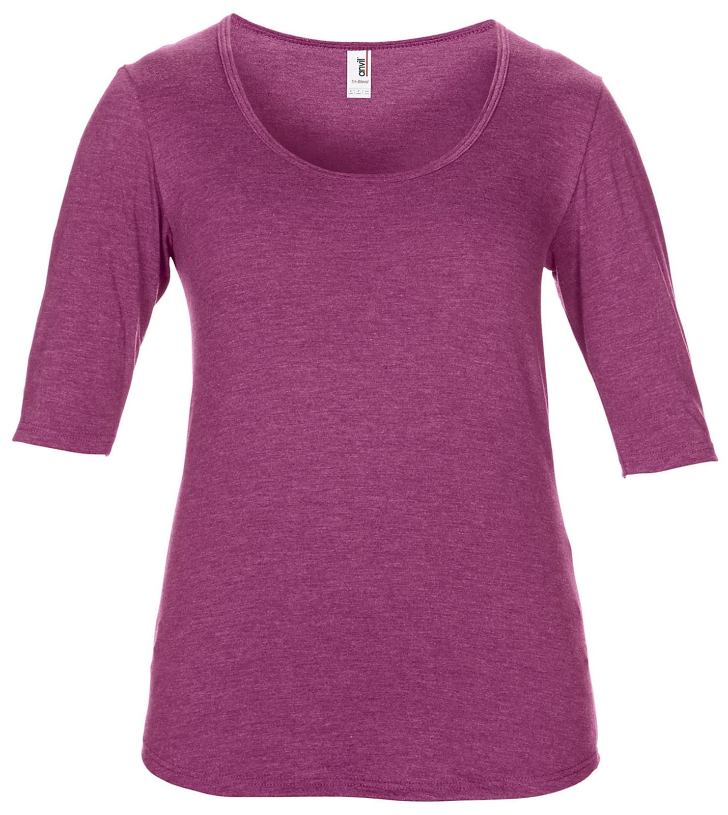 New-Womens-Anvil-Tri-blend-Deep-Scoop-Neck-1-2-Sleeved-T-Shirts-Tops-Size-8-20