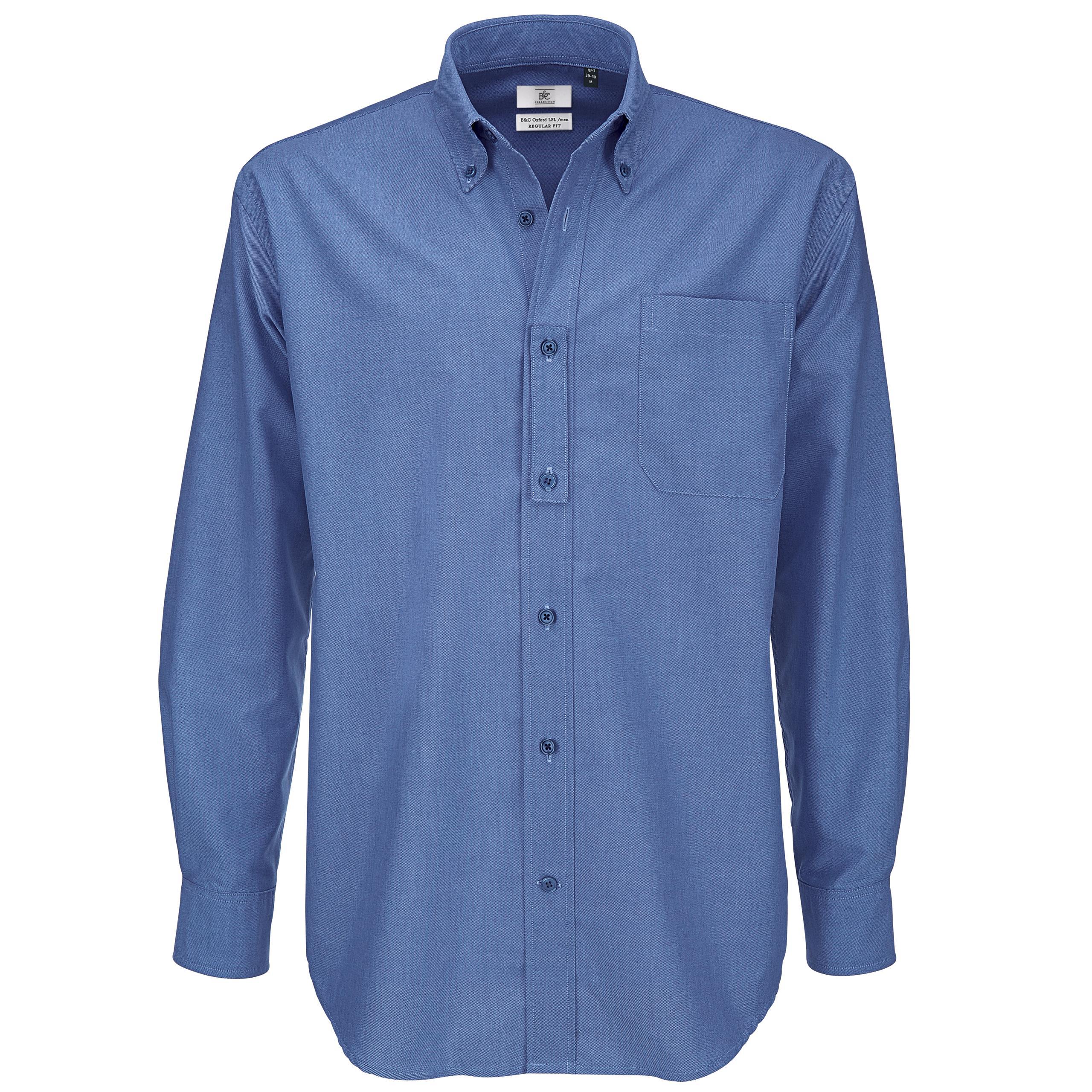 9396d182f Men B&C Collection Button Down Collar Long Sleeve Formal Shirt Top ...