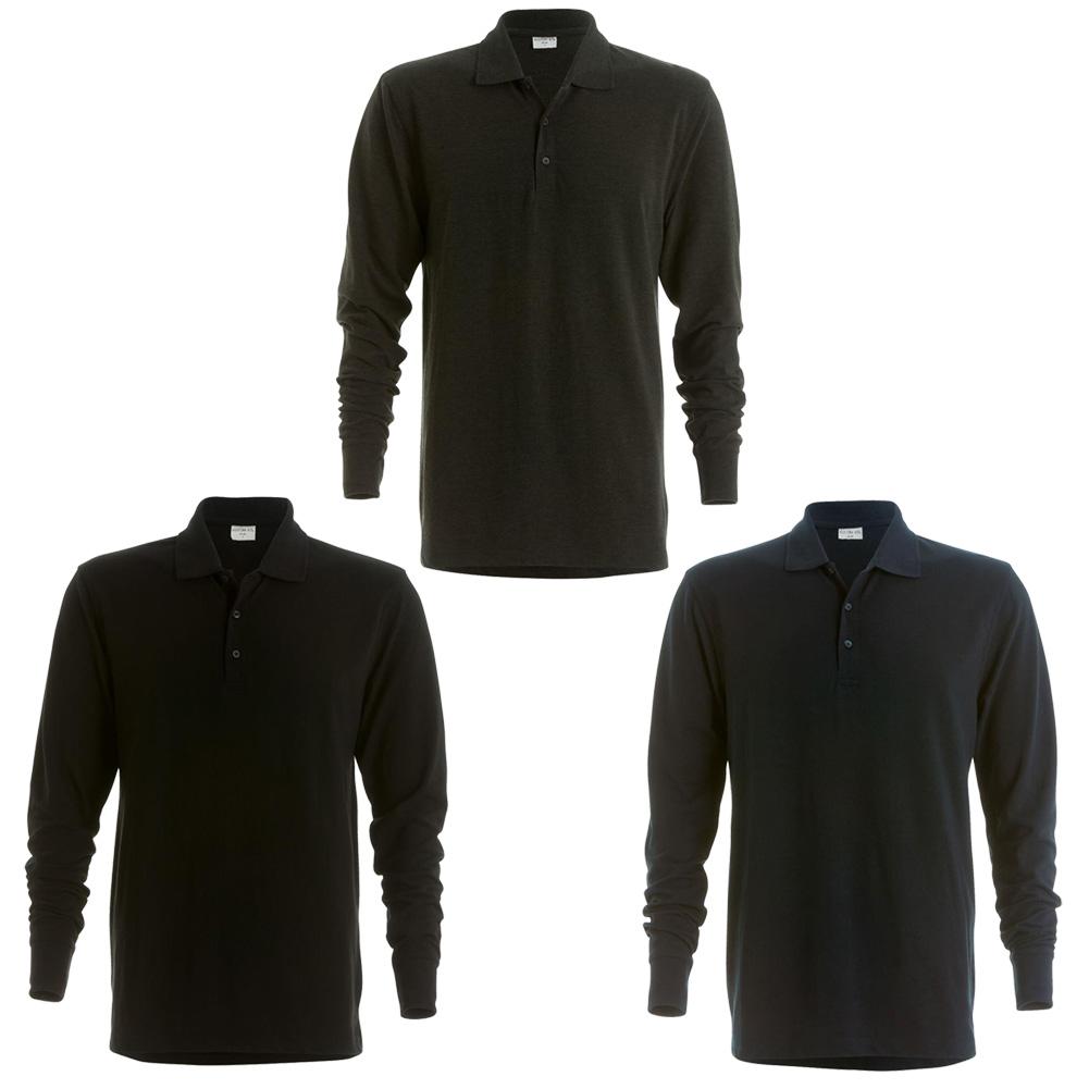 Mens kustom kit 3 button placket collar pique polo long for Mens long sleeve pique polo shirts