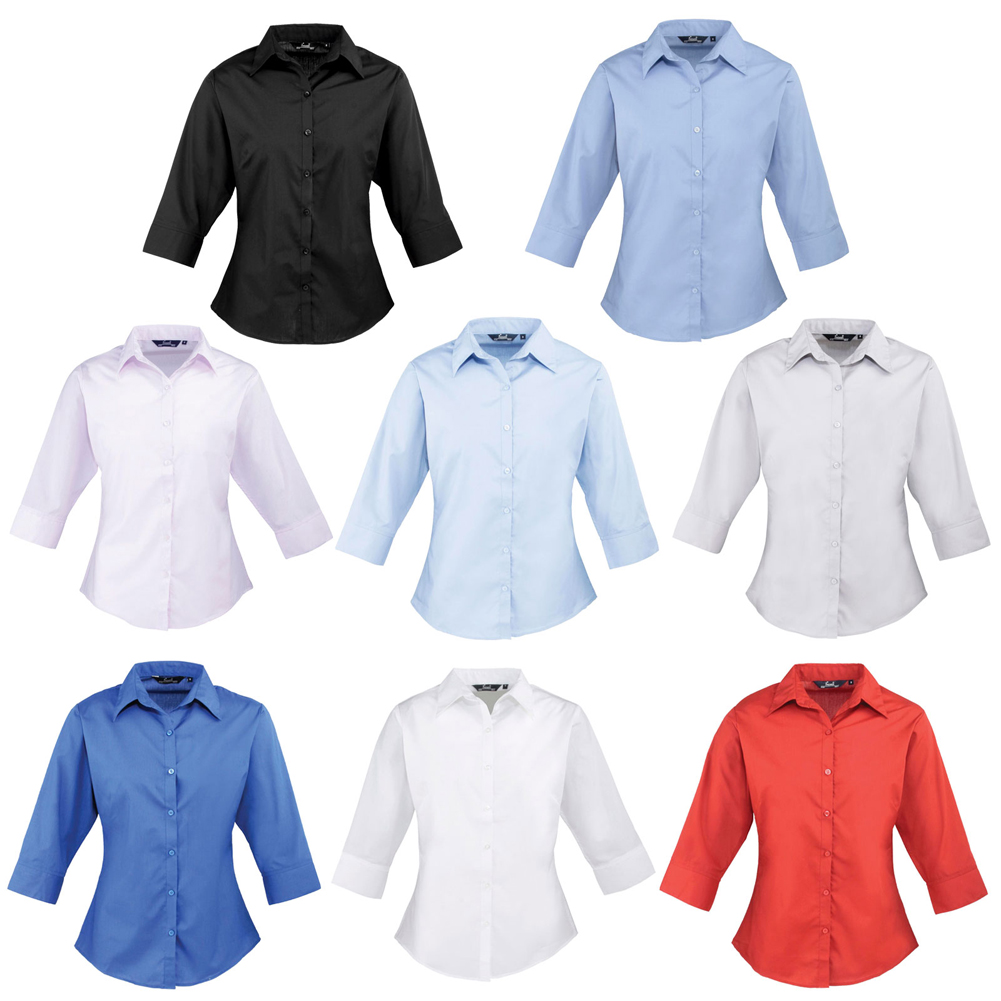 ee80f26c9c1 Details about New PREMIER Womens Ladies 3 4 Sleeve Poplin Blouse Shirt in 8  Colours Size 6-26