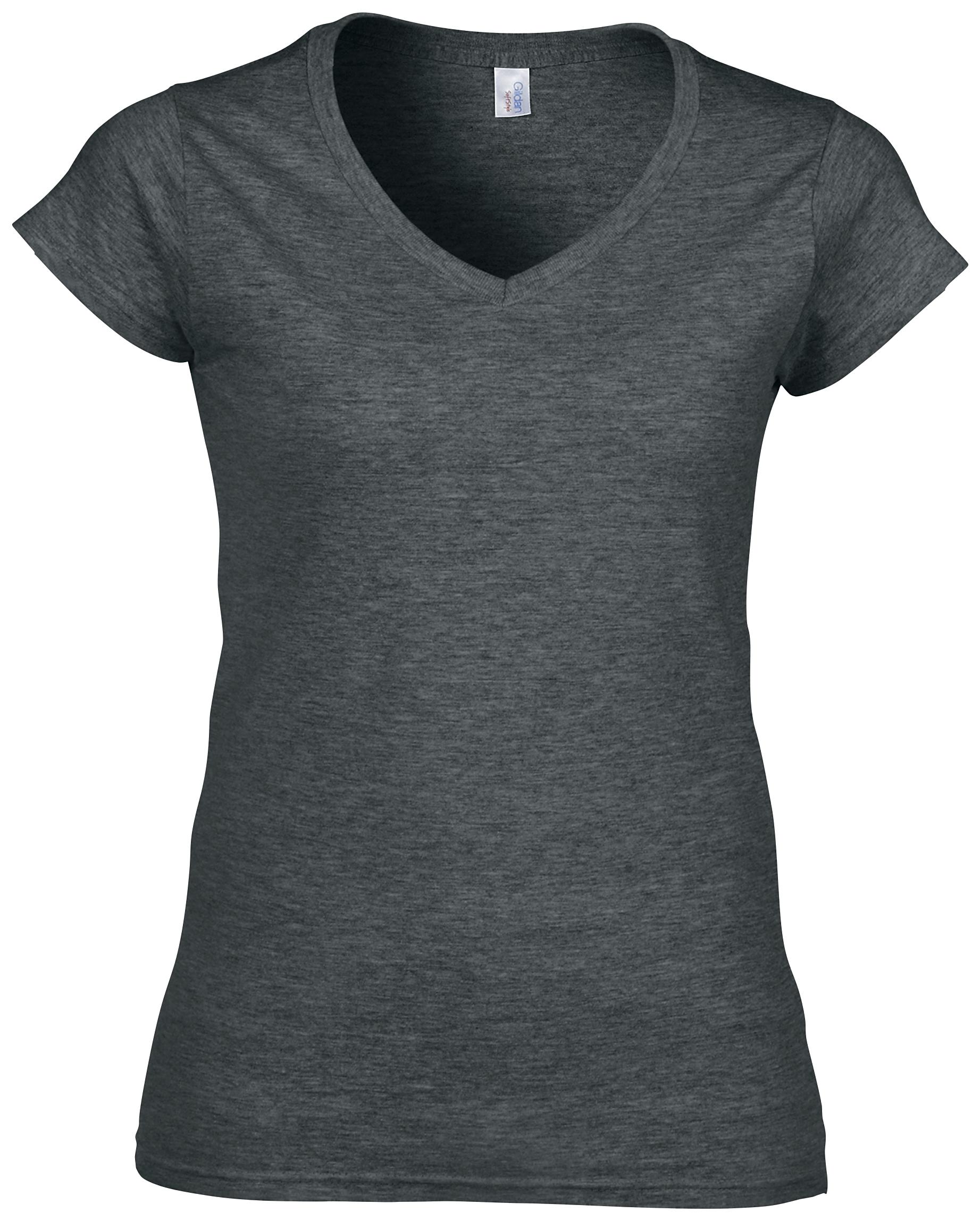 10fea88e077e New GILDAN Womens Ladies Soft Cotton Fitted V Neck T Shirt in 9 ...