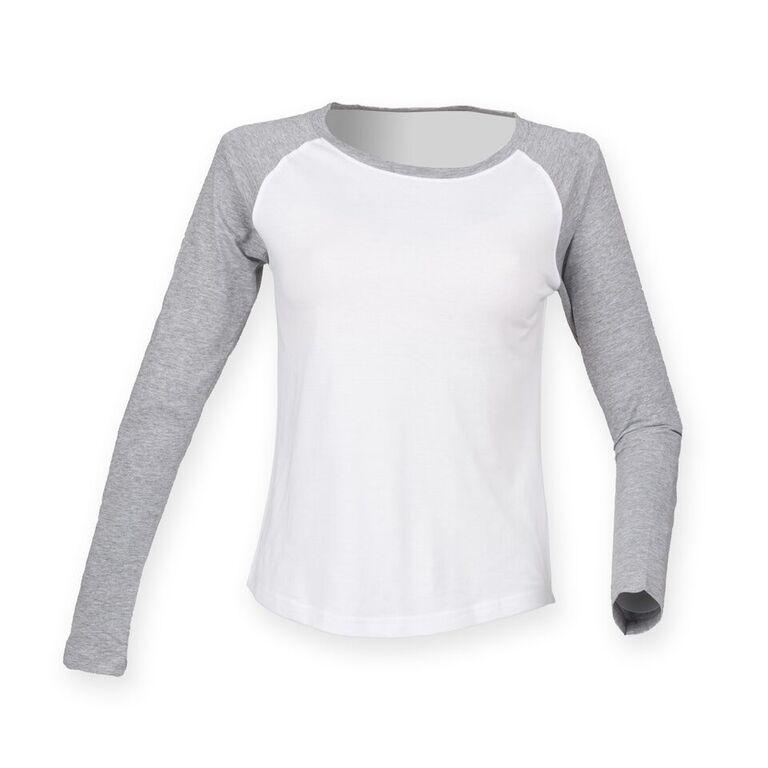 Women/'s SF Comfortable Crew Neck Raglan Long Sleeve Baseball T-Shirt Size 8-16
