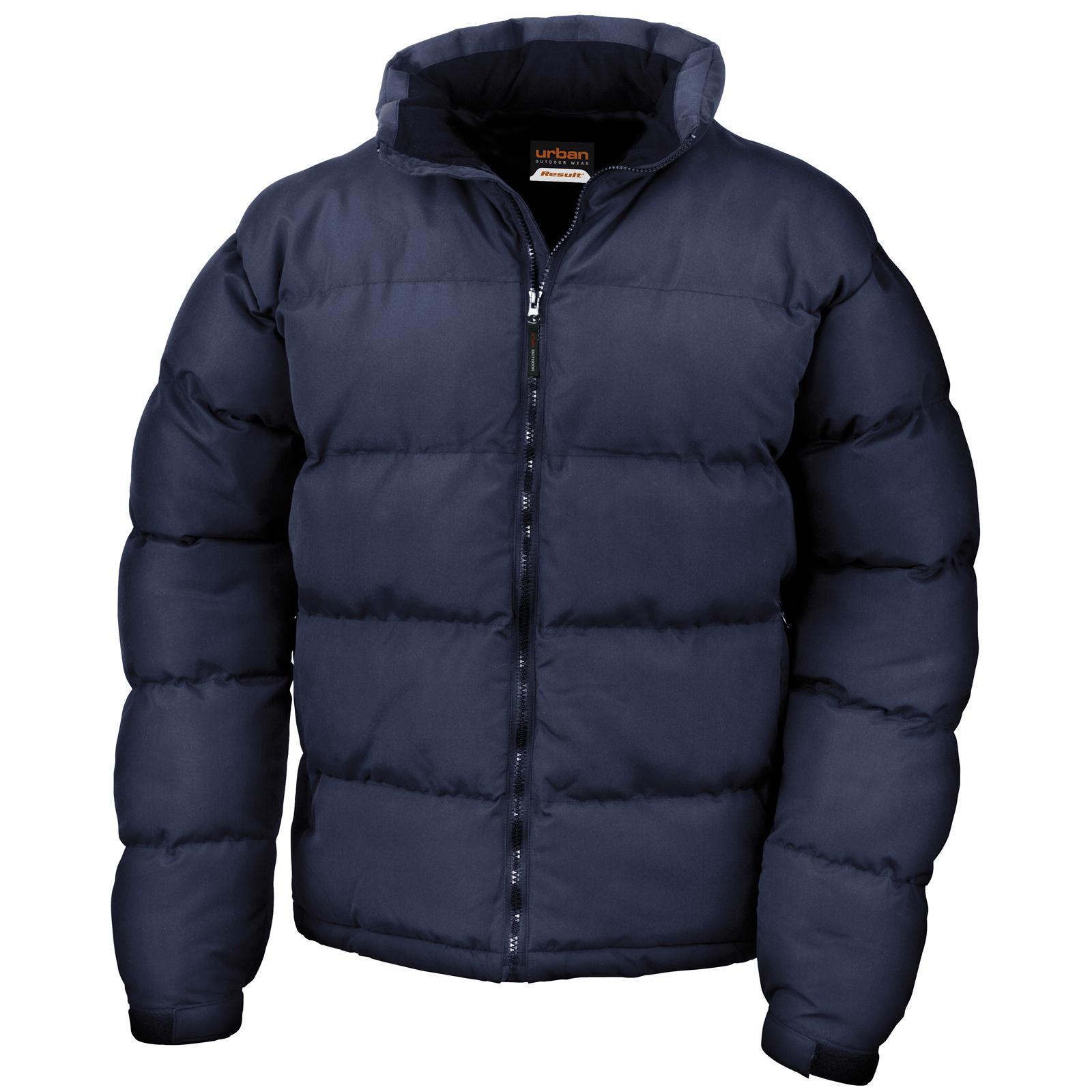 Result Mens Urban Holkham Down Feel Puffer Jacket in Black Navy S ... 803b77e41ab7