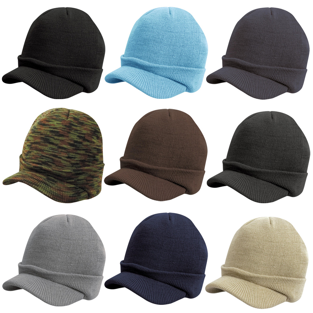 New RESULT Adults Winter Esco Army Knitted Peaked Beanie Hat 9 Colours One Size