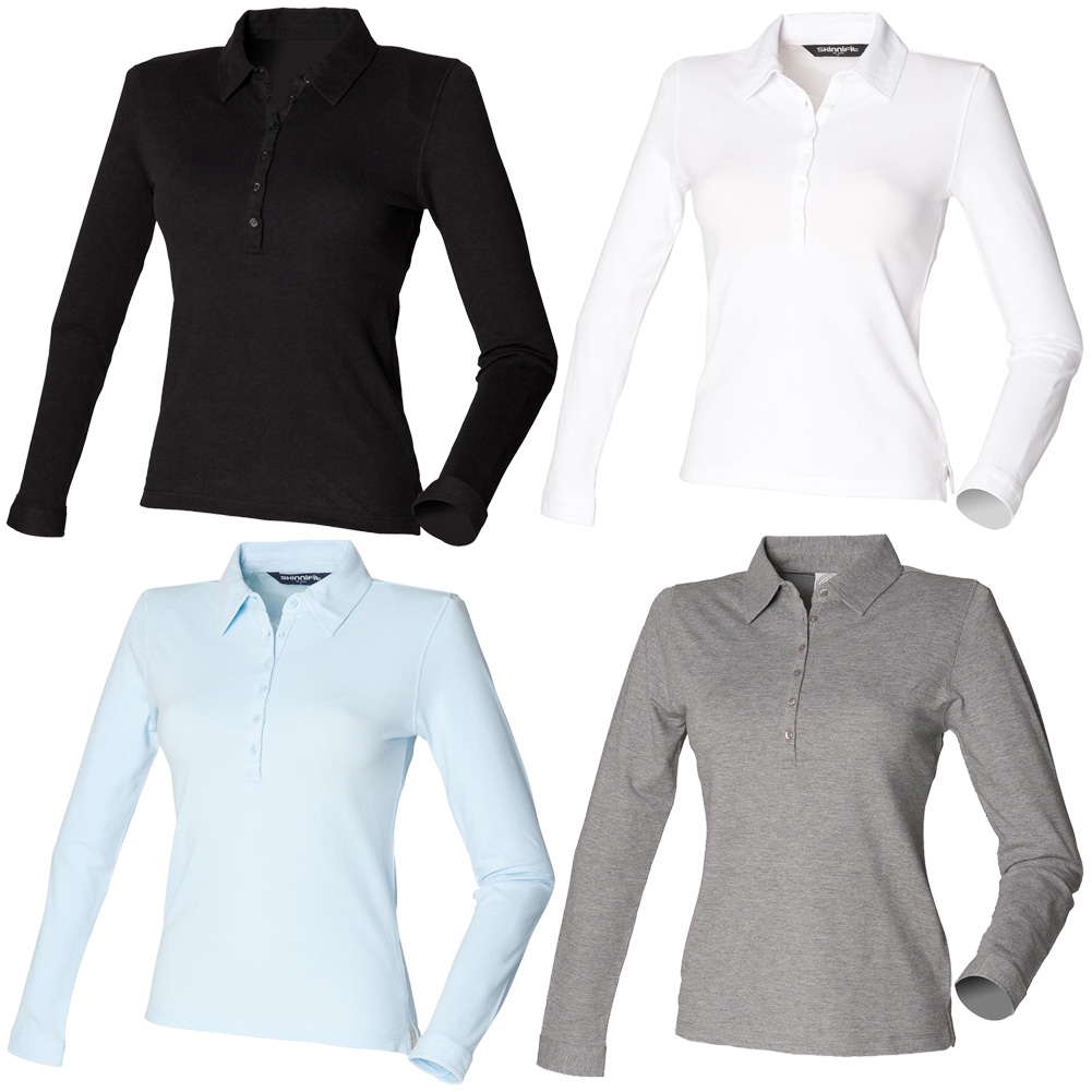3ff4f07ad New SKINNI FIT Womens Ladies Long Sleeve Stretch Polo Shirt 4 Colours S-XL
