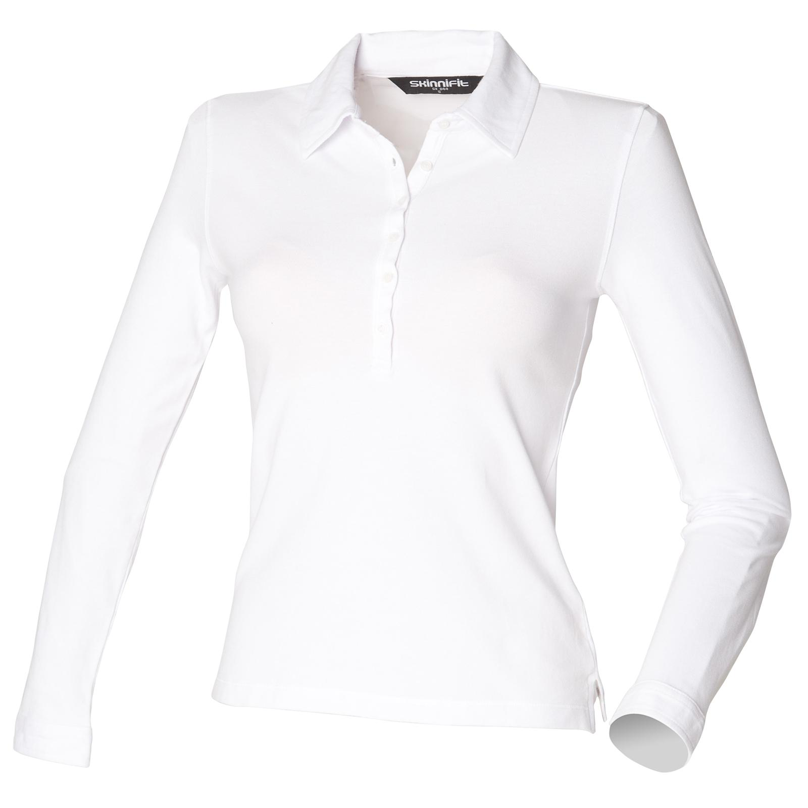 New skinni fit womens ladies long sleeve stretch polo for Woman s polo shirts