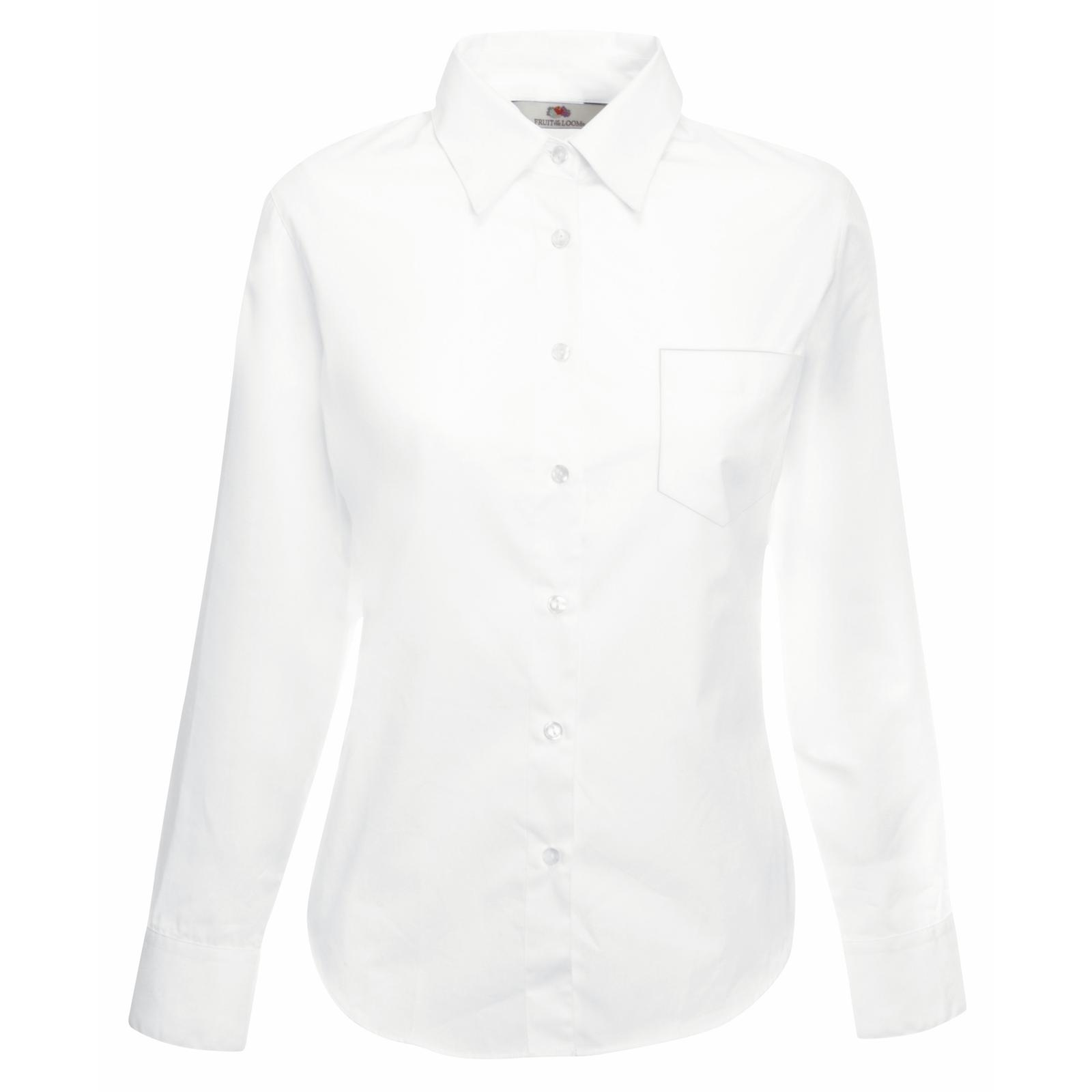 New Fruit Of The Loom Womens Fitted Poplin Long Sleeve