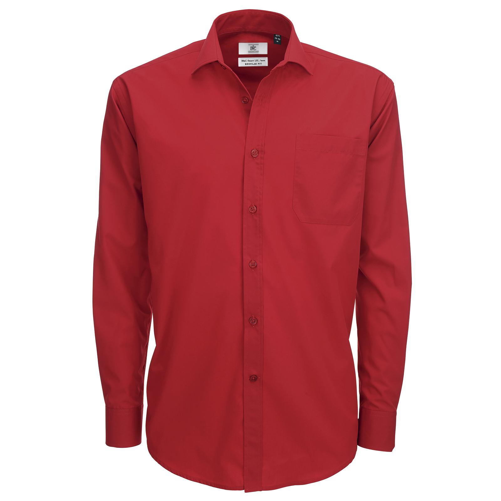 New B&C Mens Smart Work Long Sleeve Polycotton Shirt in 5 Colours ...