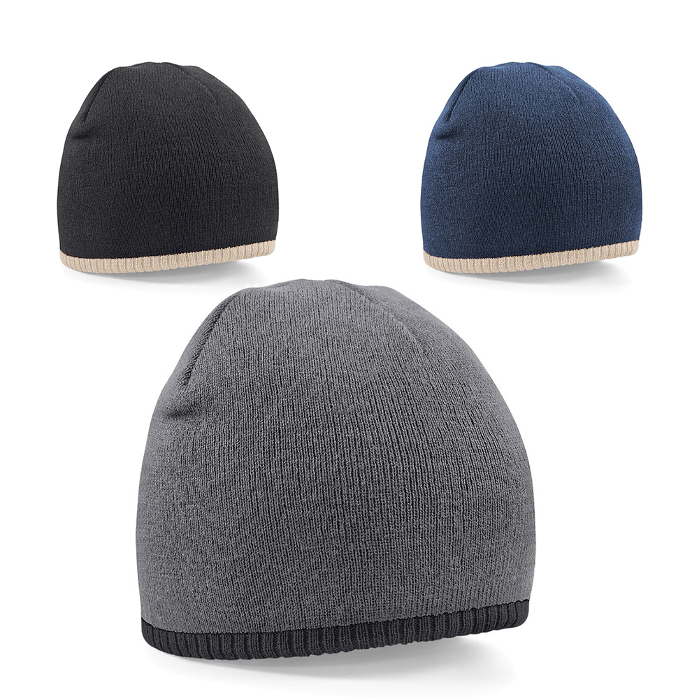 7bca0c9a522 Details about New BEECHFIELD Two Tone Knitted Beanie Hat in 3 Contrast  Colours One Size