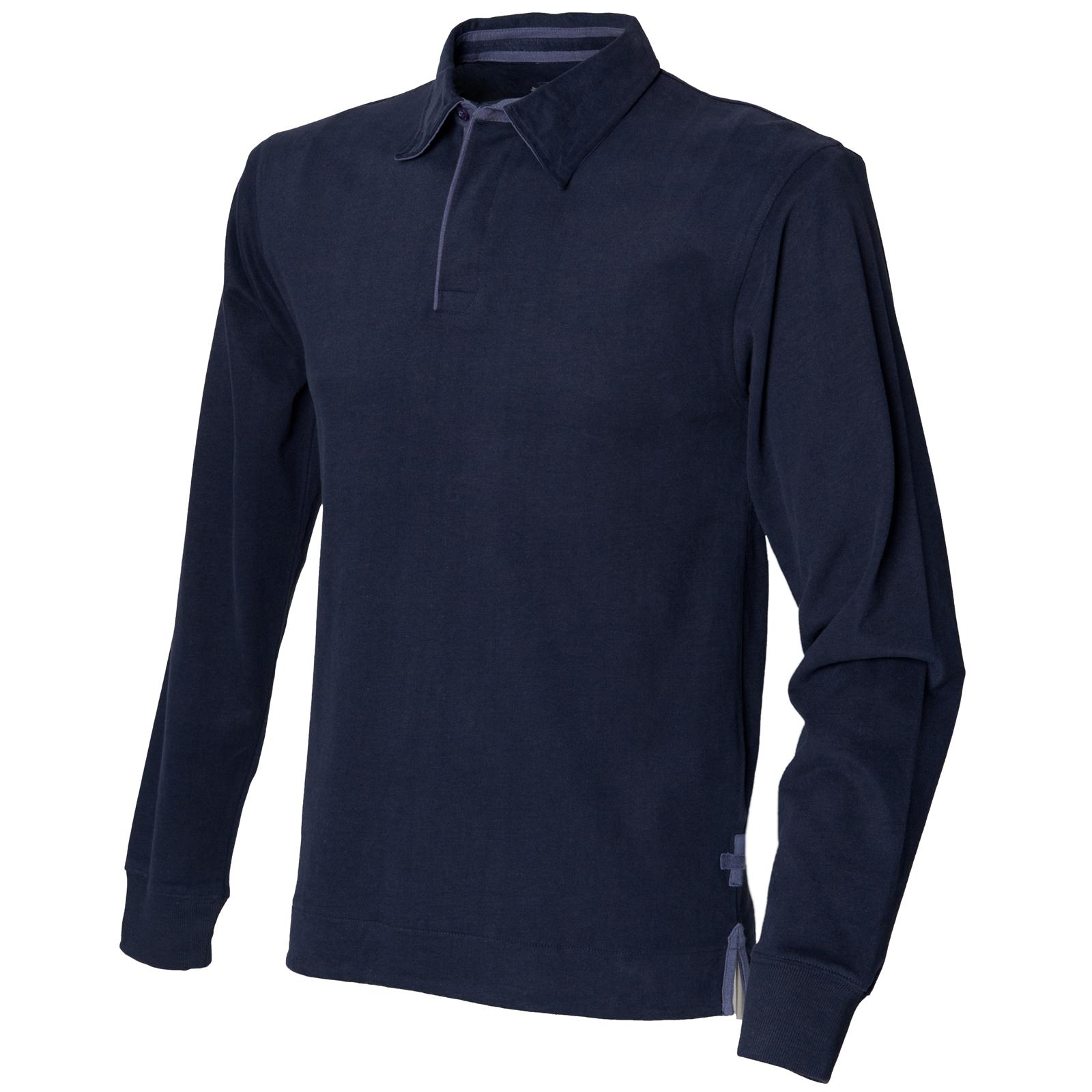 Super Scrum Rugby Shirt In Flyhalf Navy Stripe: New FRONT ROW Mens Super Soft Long Sleeve Rugby Style