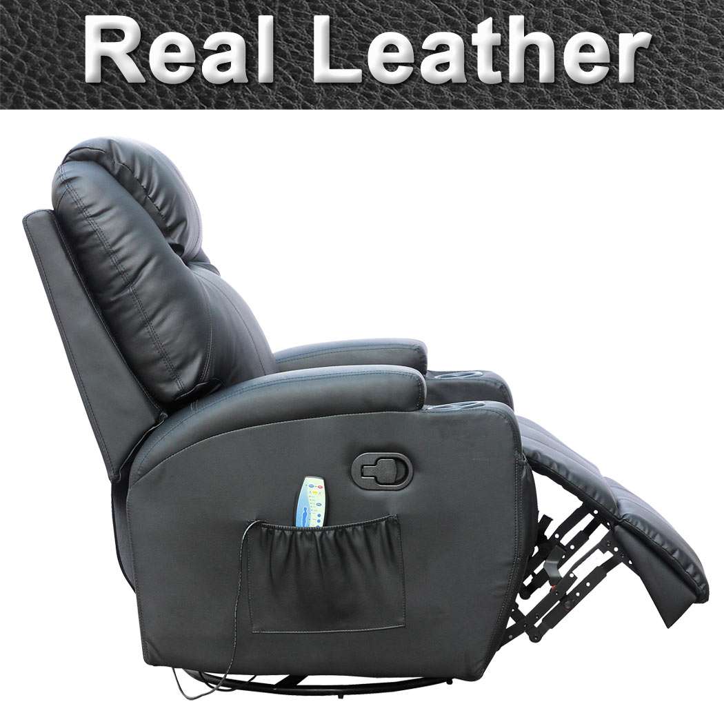 black leather recliner gaming chair cinemo black leather recliner chair rocking massage swivel 11227 | Cinemo Black Pic5