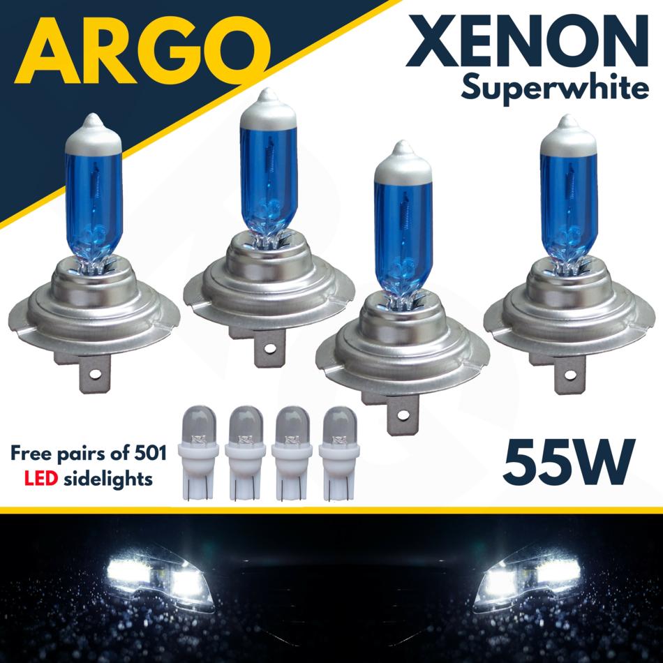 Audi A4 B6 H7 501 100w Super White Xenon HID Low Dip//LED Side Light Bulbs Set