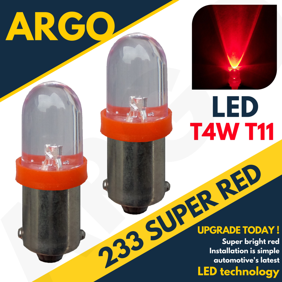 2 x 233 ba9s t4w rouge led phare avant anti