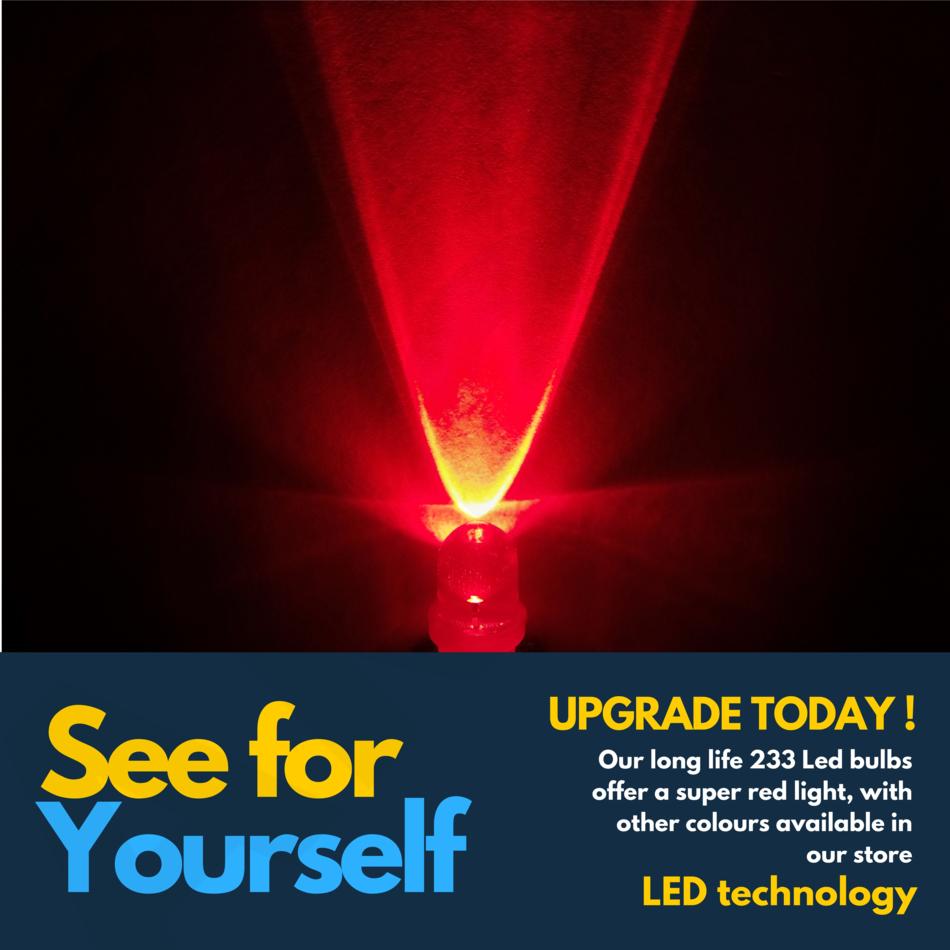 2 x 233 ba9s t4w rouge led phare avant anti