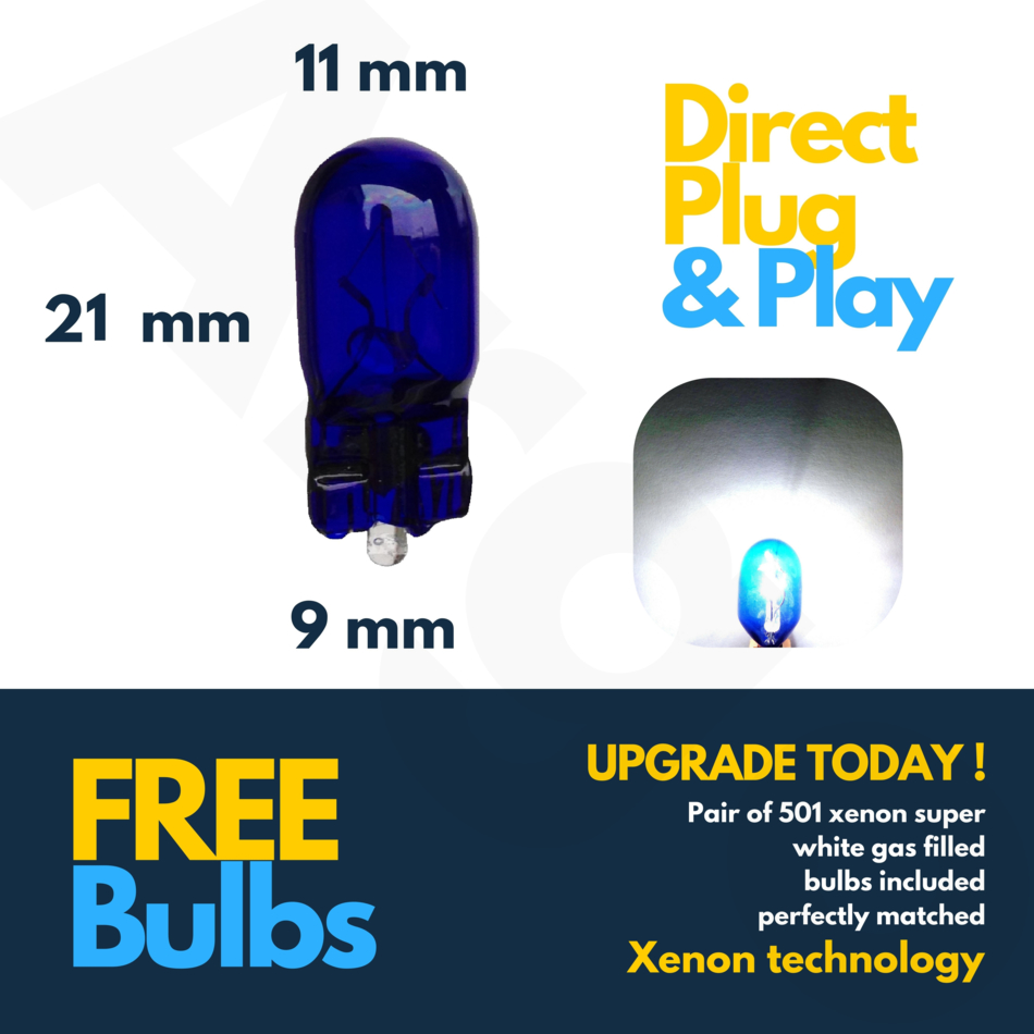 Peugeot 307 H1 H7 H1 501 100w Clear Xenon HID High//Low//Fog//Side Headlight Bulbs