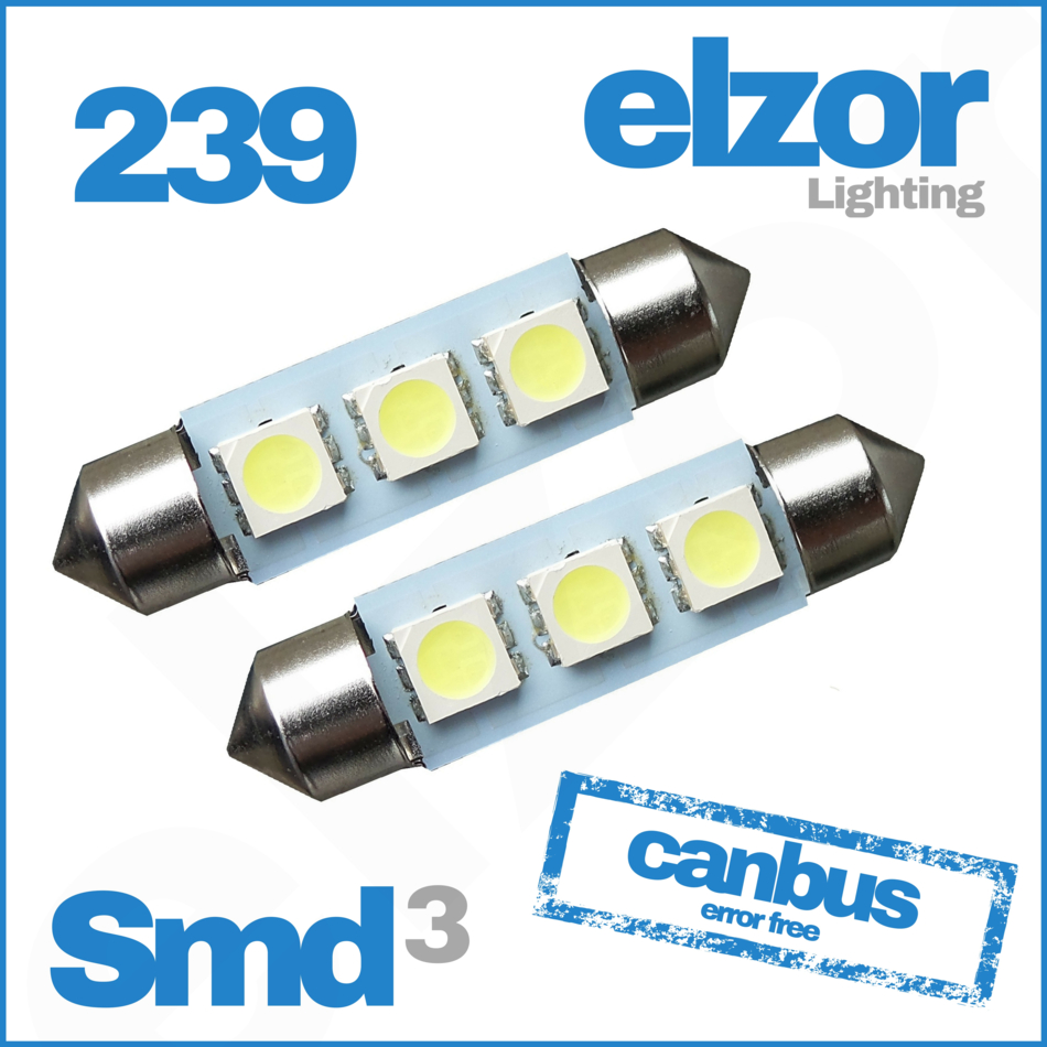 239 3 Smd Led Xenon White Festoon Canbus Error Free Number Plate Light Bulbs 272