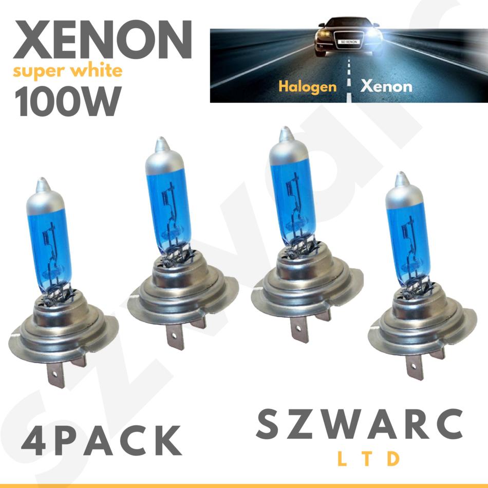 H4 100W 12v Xenon Extreme White Headlight Bulbs x2