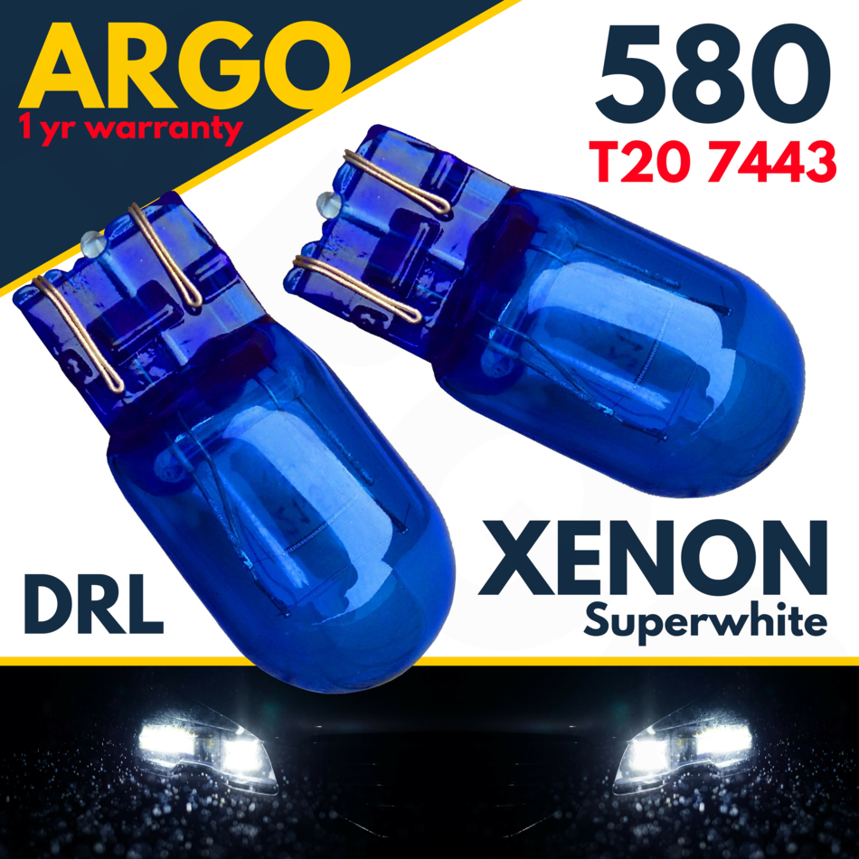 2x Drl W21//5w T20 580 7443 Sidelight Blue Glass Bulbs Dual Filament Xenon 6000k