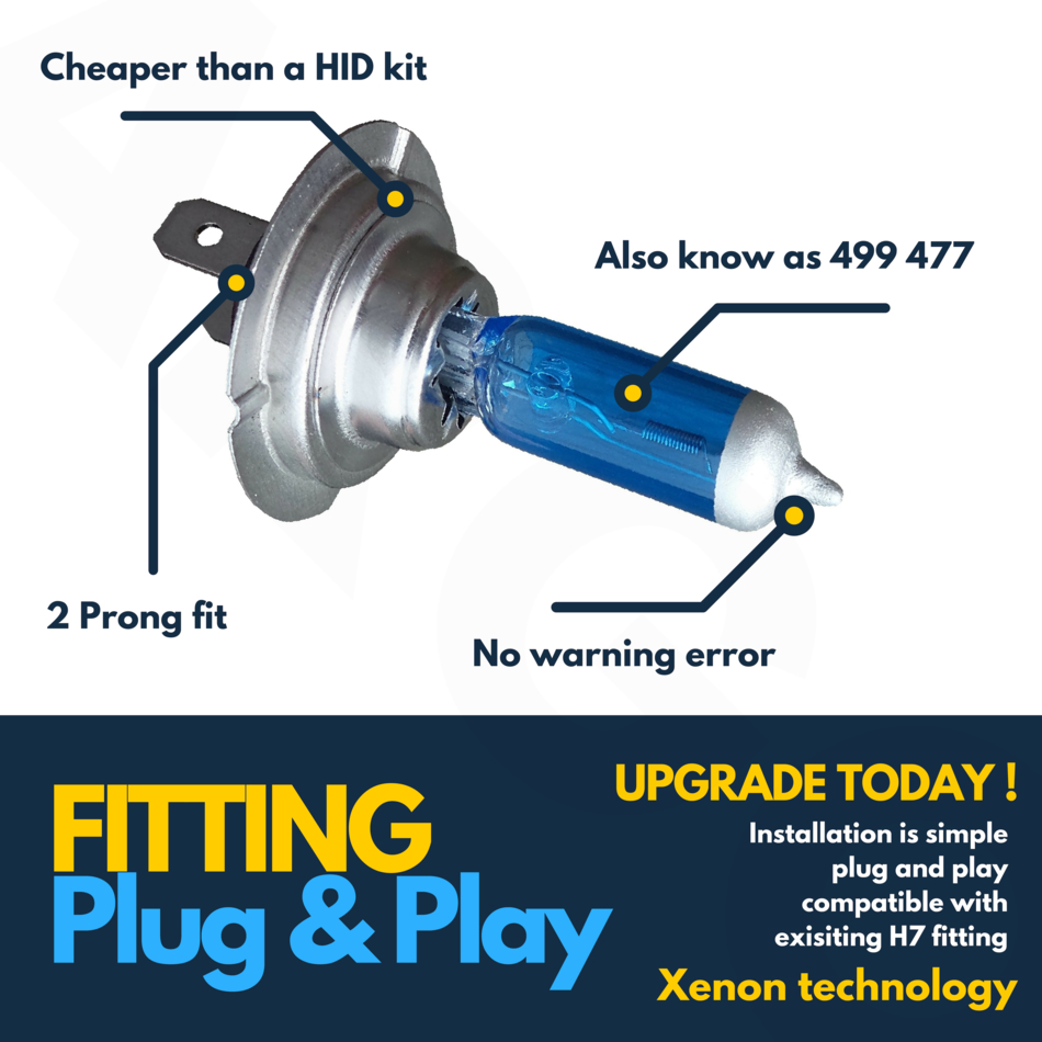 501 Sidelight Bulbs 12v H7 Xenon Ice cool Blue 100w Main Dipped Beam Headlight
