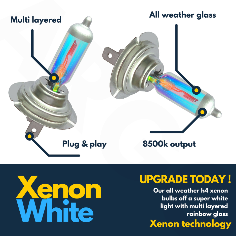 H7 100W SUPER WHITE XENON UPGRADE HEADLIGHT BULBS SET 501 499 12V FULL//DIPPED