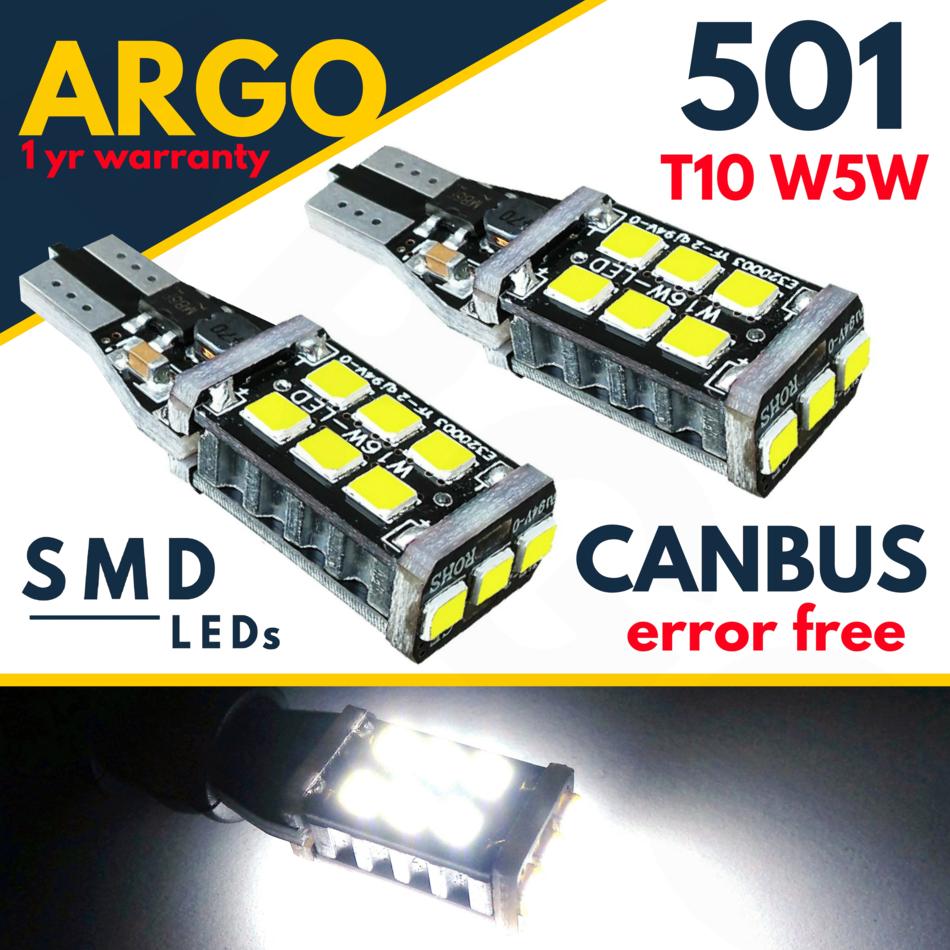 2x T10 CAR BULBS LED ERROR FREE CANBUS 6 SMD XENON WHITE W5W 501 SIDE LIGHT UK