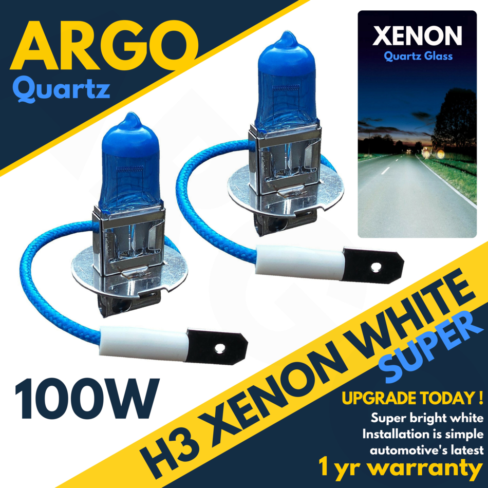Fiat 500 100w Super White Xenon HID High Main Beam Headlight Bulbs Pair