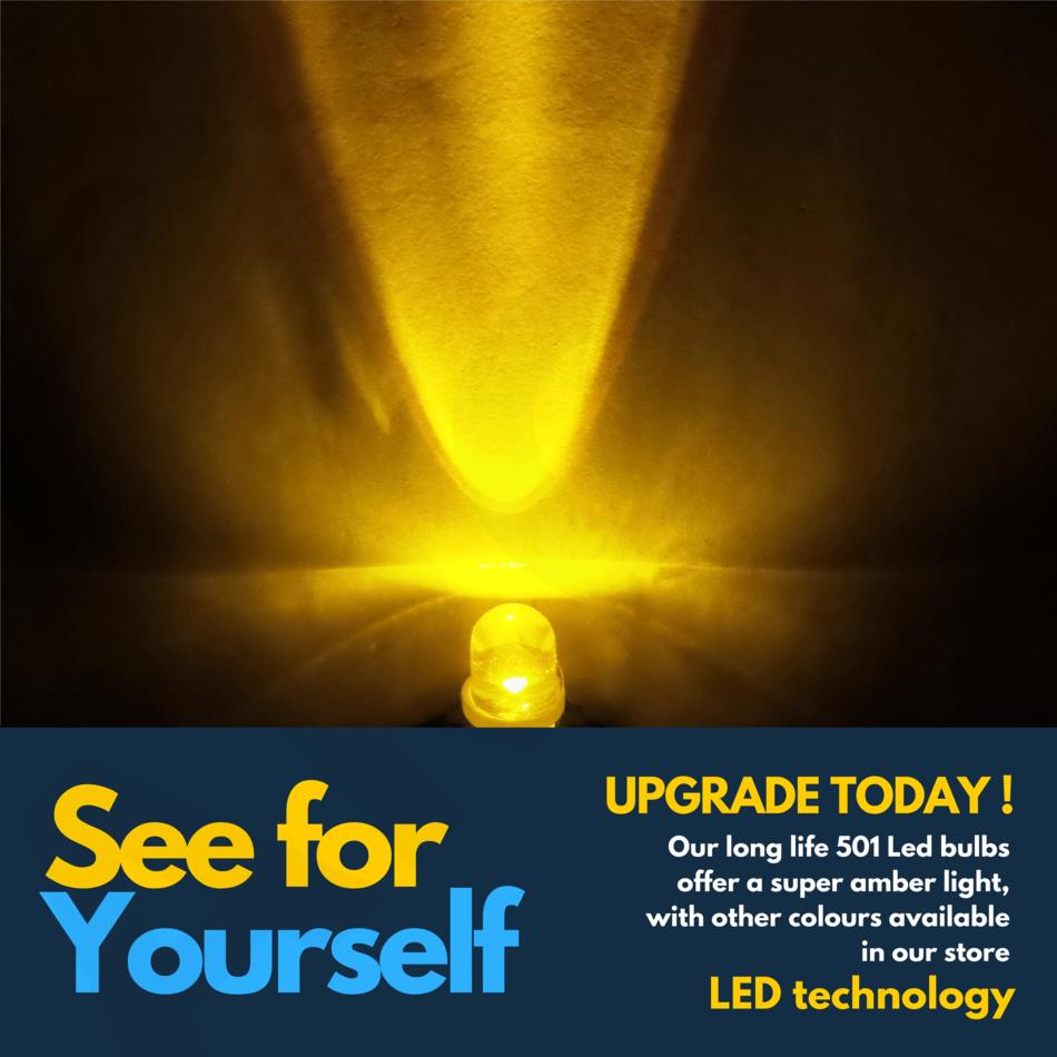 2x LED AMBER ORANGE INDICATOR SIGNAL TURNING SIDE LIGHT BULB T10 W5W 501