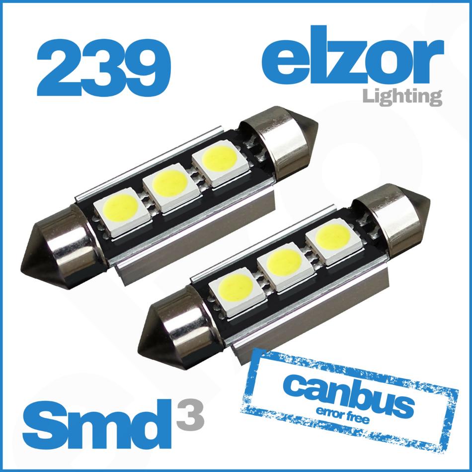 2X 239 272 C5W Sans Erreur DEL SMD COB feston blanc plaque d/'immatriculation Ampoules