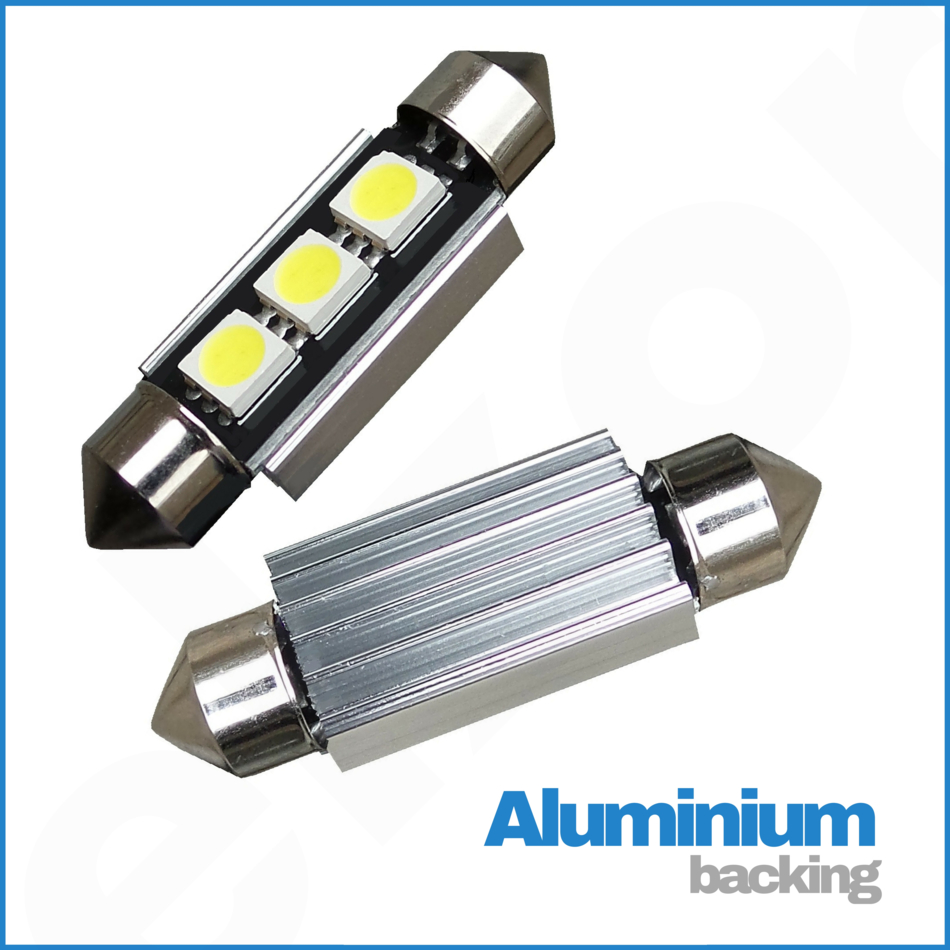 JEEP 39MM 4 SMD LED FESTOON CANBUS ERROR FREE WHITE NUMBER PLATE BULB 239