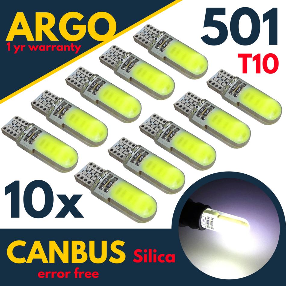 10 x T10 501 W5W CAR SIDE LIGHT BULBS ERROR FREE CANBUS WEDGE LED XENON 12V HID