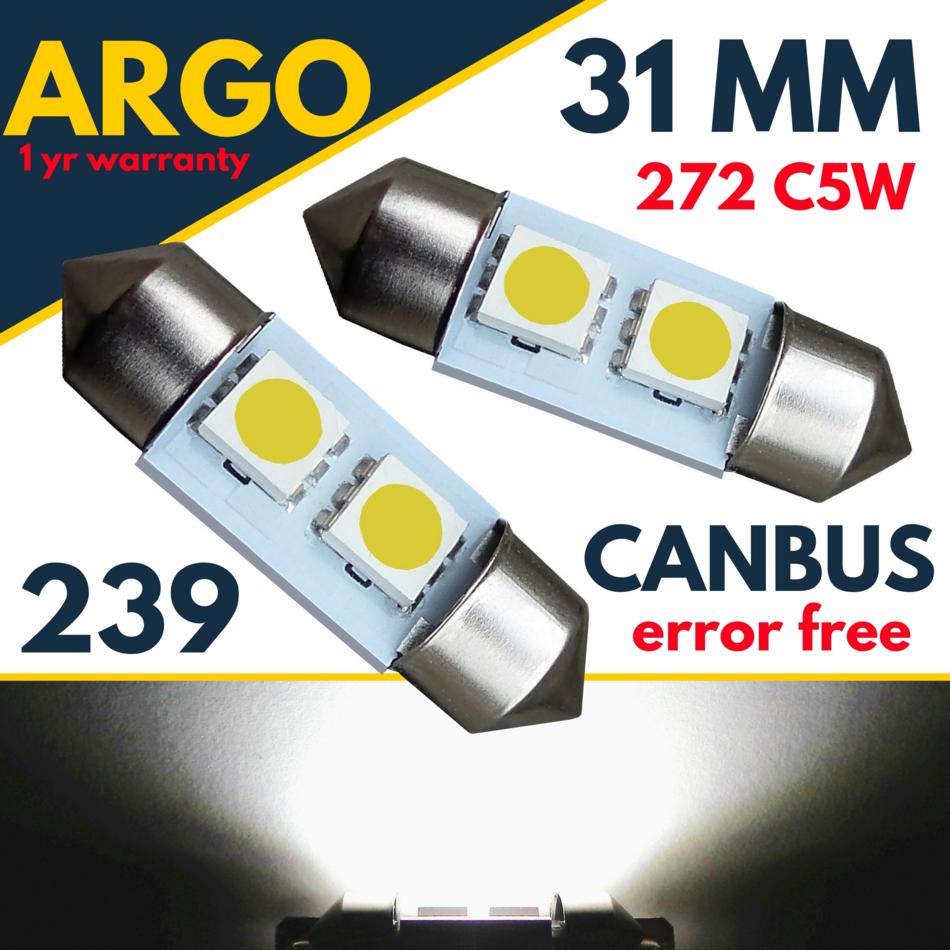 3 SMD LED 39mm 264 CANBUS NO ERROR XENON WHITE NUMBER PLATE LIGHT FESTOON BULBS