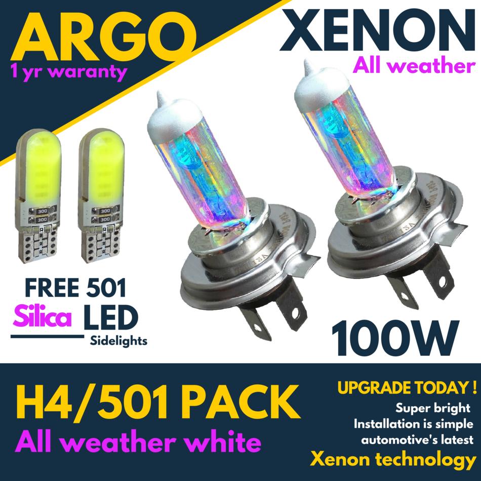 H4 Xenon White 55w High Main Beam Headlight Headlamp 501 Led Sidelight Bulbs X 2