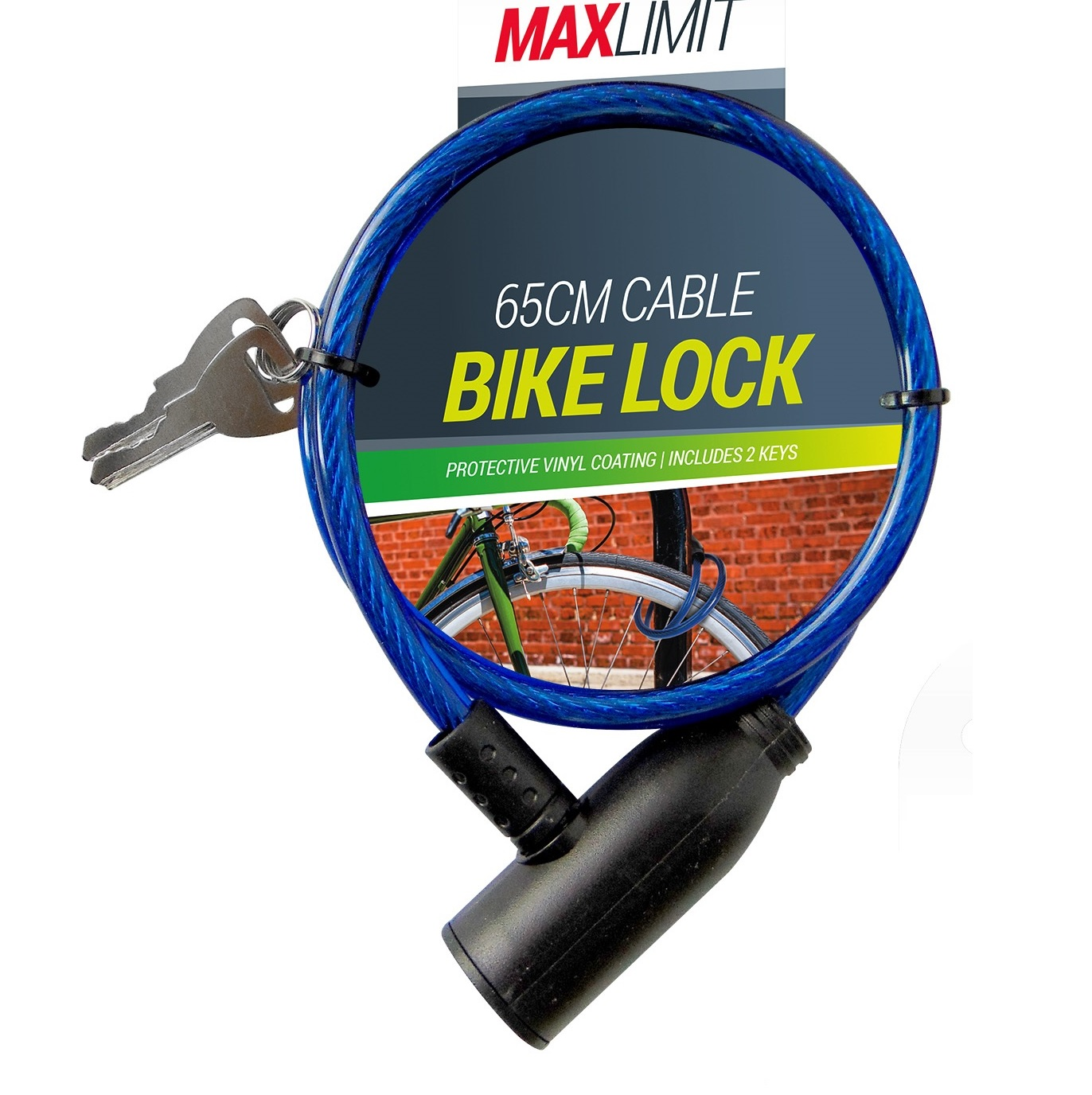 65cm Vinyl Steel Cable Bike Bicycle Cycle 2 Key Lock Car Trailer Security Seal