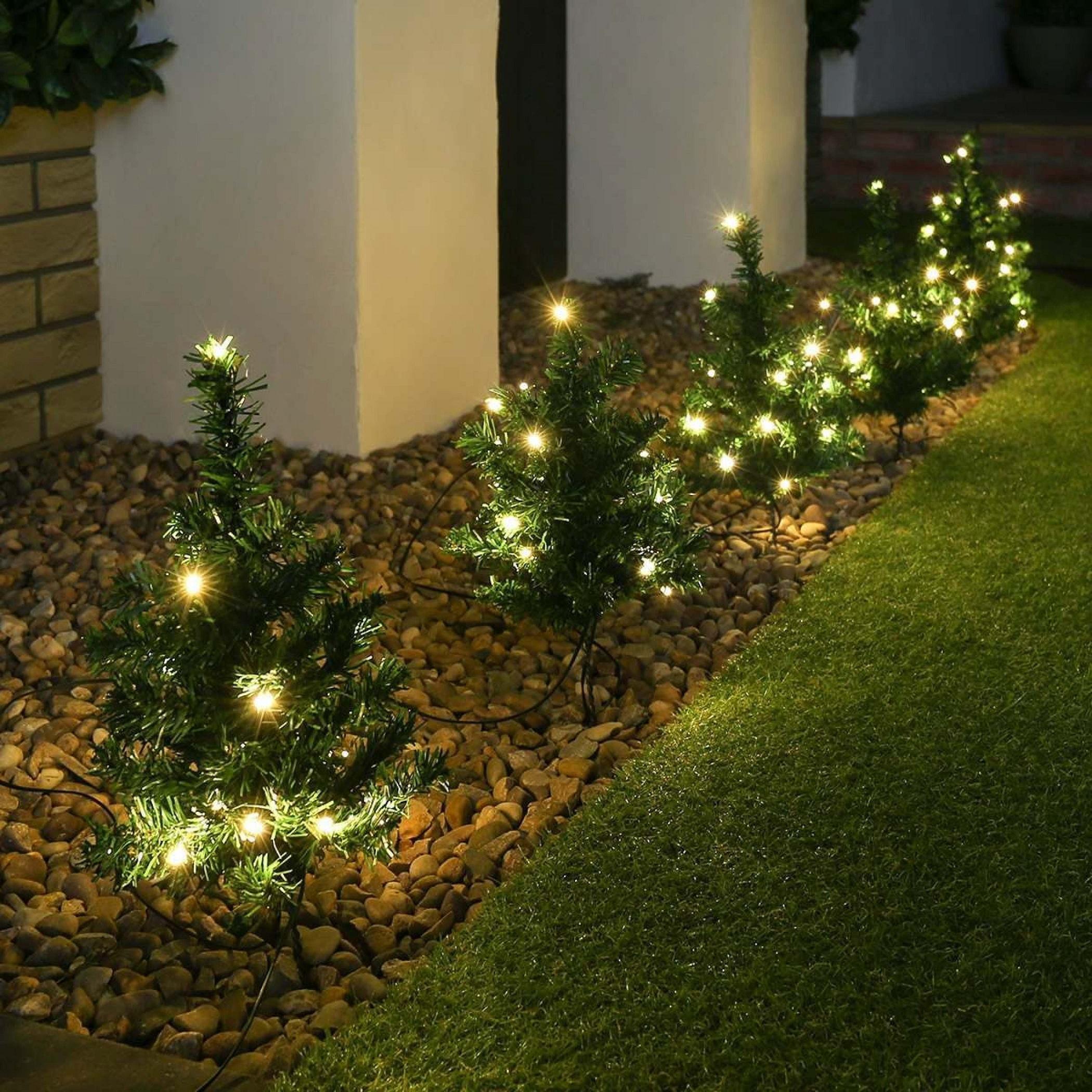 6 X Pre Lit Garden Christmas Tree Path Lights 90 Led Set