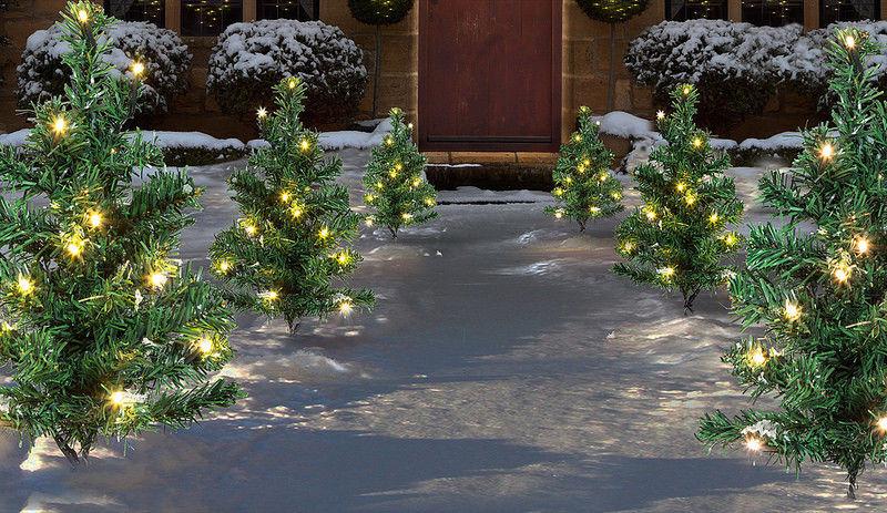 6 x Pre Lit Garden Christmas Tree Path Lights 90 LED Set ...