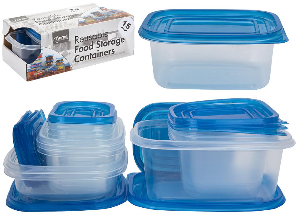 833095 15 x Boîtes de Rangement Alimentaire en Plastique