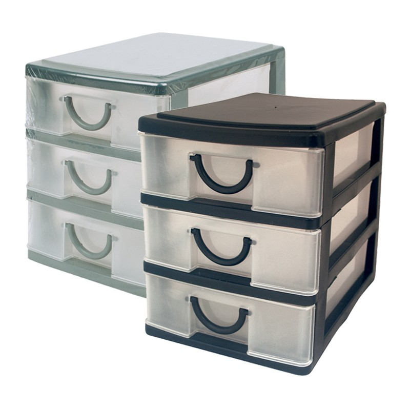 3 Drawer Mini Desk Draw Storage Trays Home Office