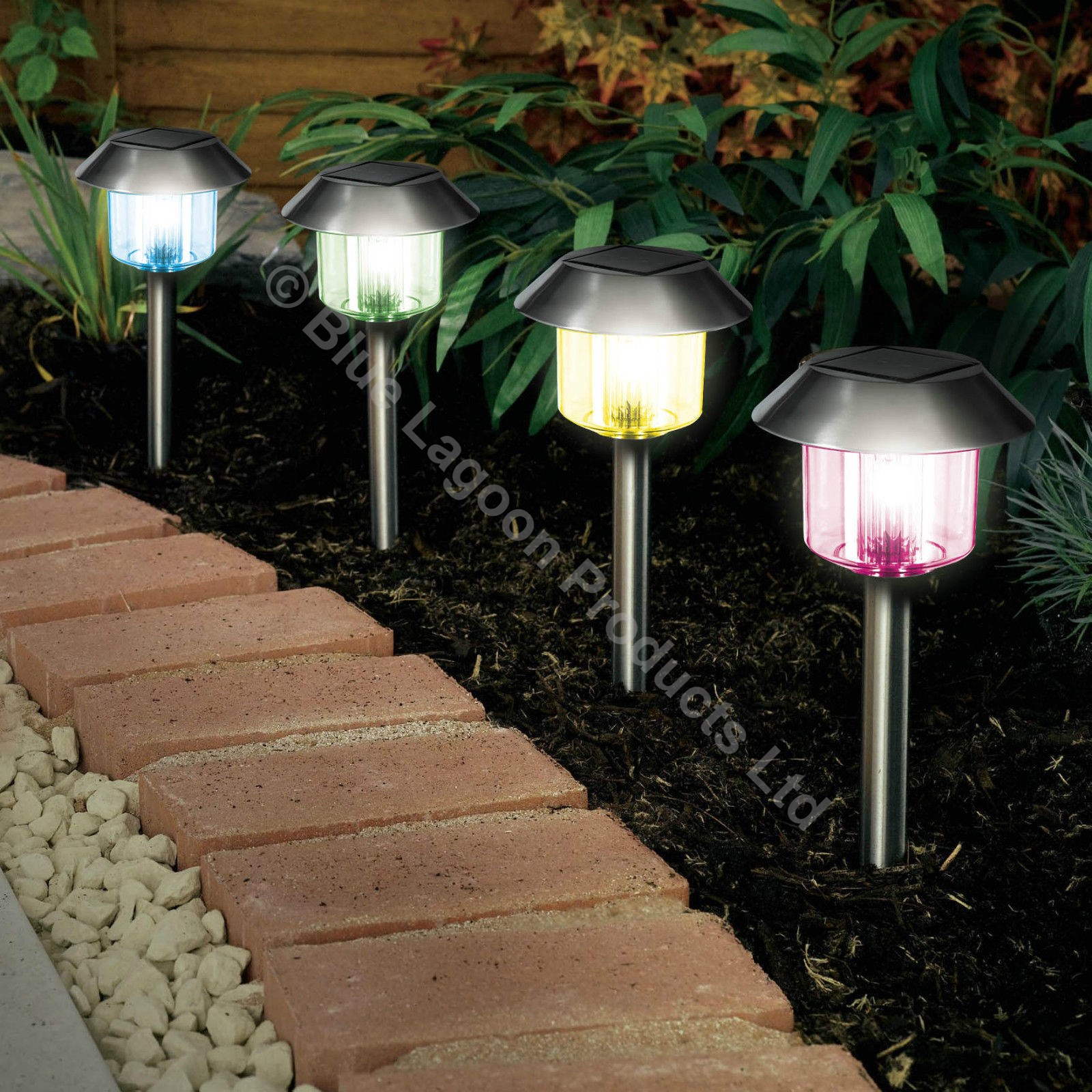 4 x Colour Changing Solar Power Light LED Post Outdoor Lighting ...