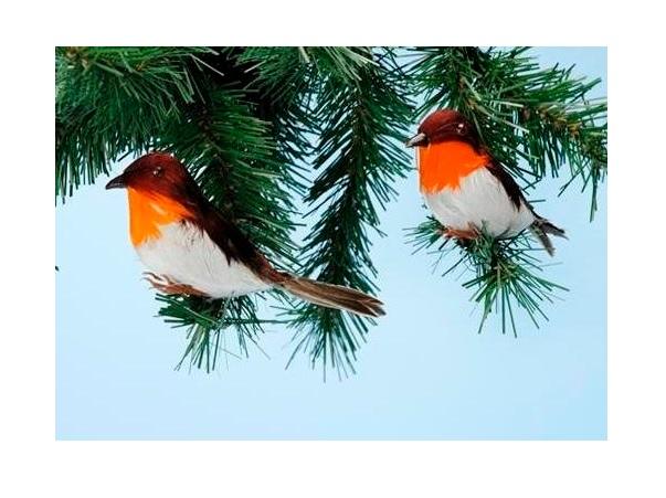 2 x rouge gorge d coration c ble no l mod le artificiel for Oiseaux artificiels de decoration