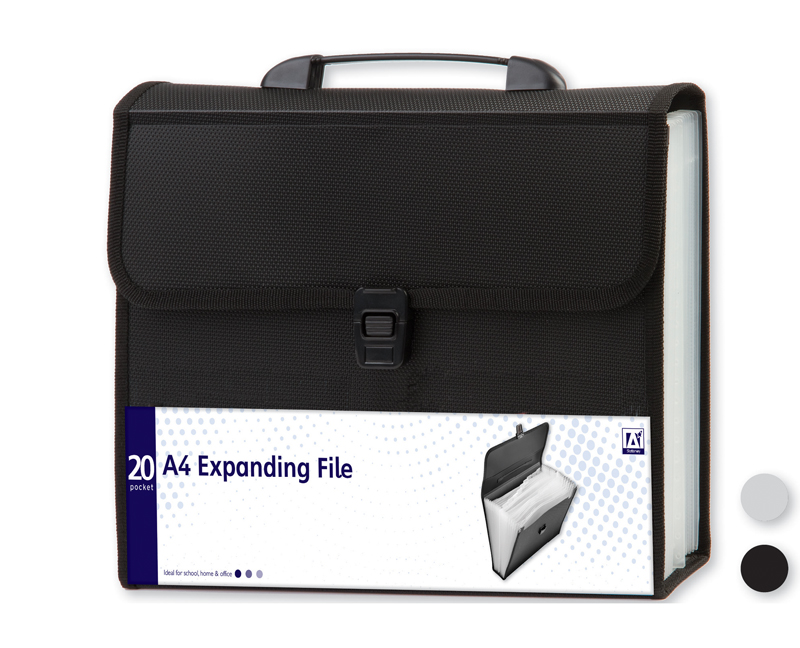 20 Pocket A4 Expanding File With Carry Handle Office Stationery /& Storage Folder