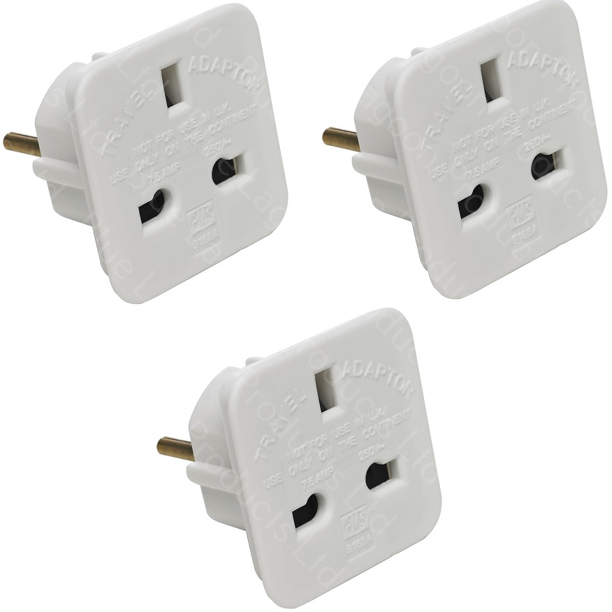 5 Amp European Plug Converter Black Euro 2 Pin to UK 3 Pin Plug Travel Adapter