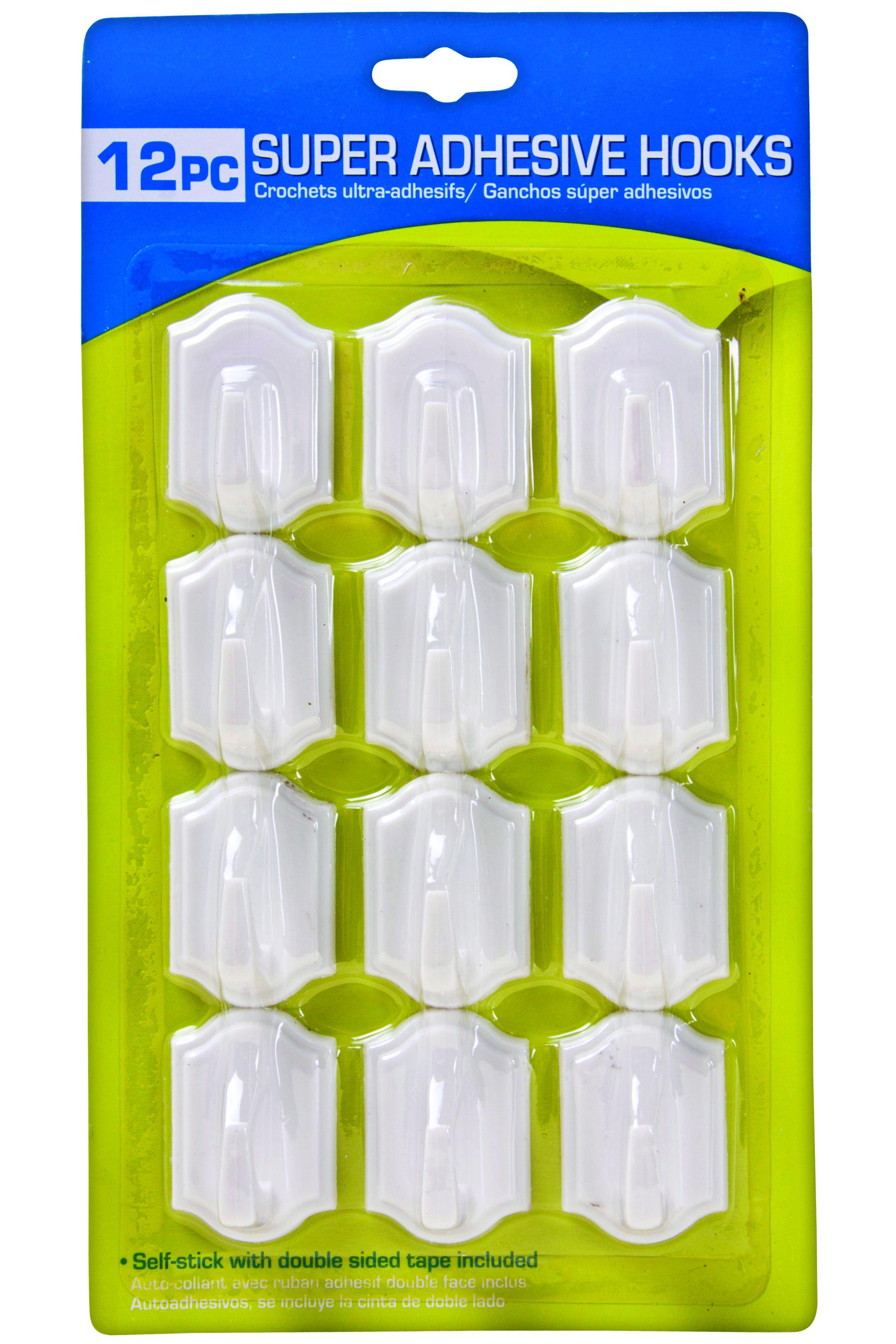 12 X Self Adhesive Super Stick White Wall Hooks Hanging