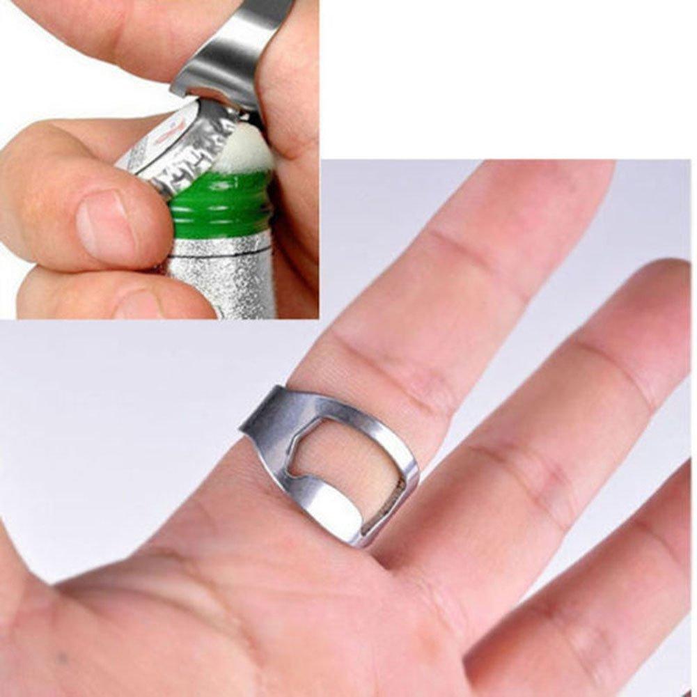 Stainless Steel Ring Bottle Opener Easy Finger Thumb Compact Pocket ...