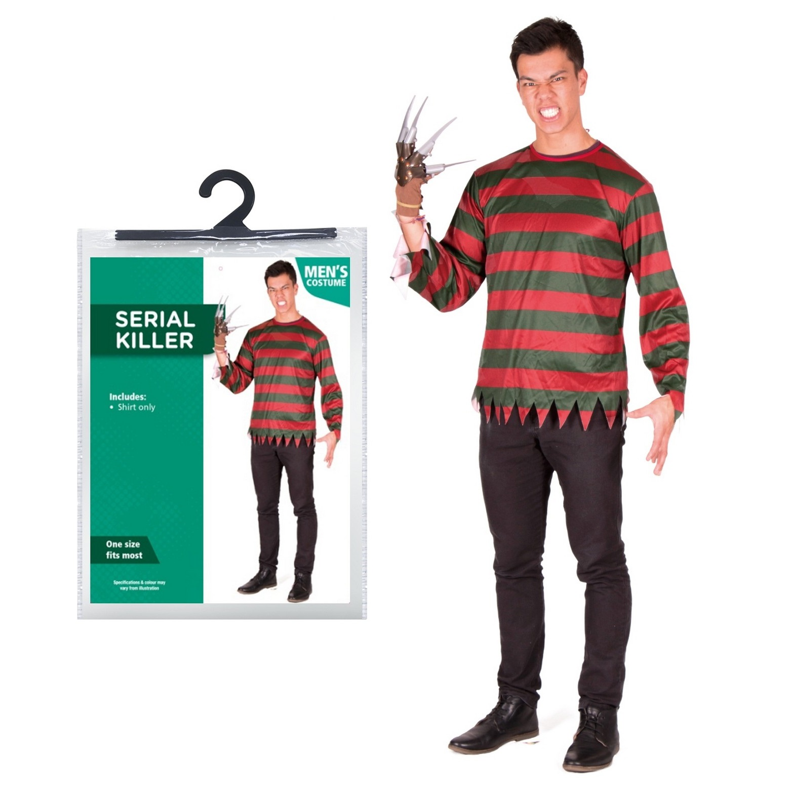 halloween mens one size shirt only serial killer freddie fancy dress