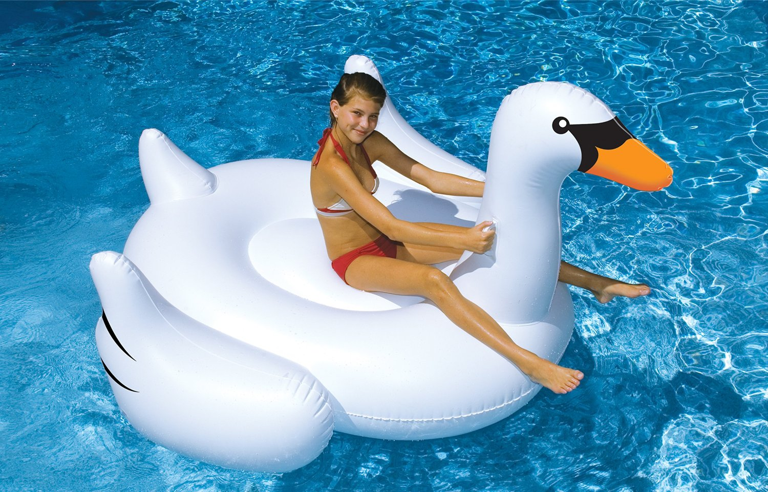 Sentinel 160cm GIANT Inflatable Swan Raft Lounger Water Swimming Fun Float  Pool Lilo