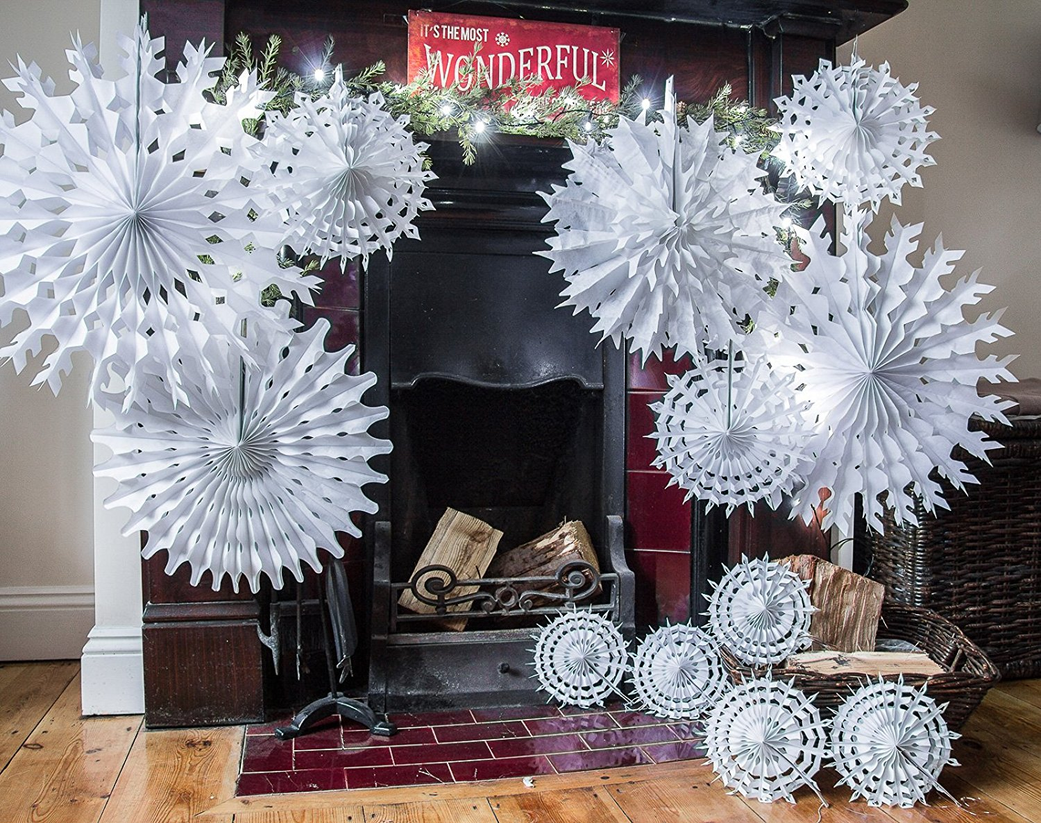 Cm hanging snowflake fold out paper fan christmas