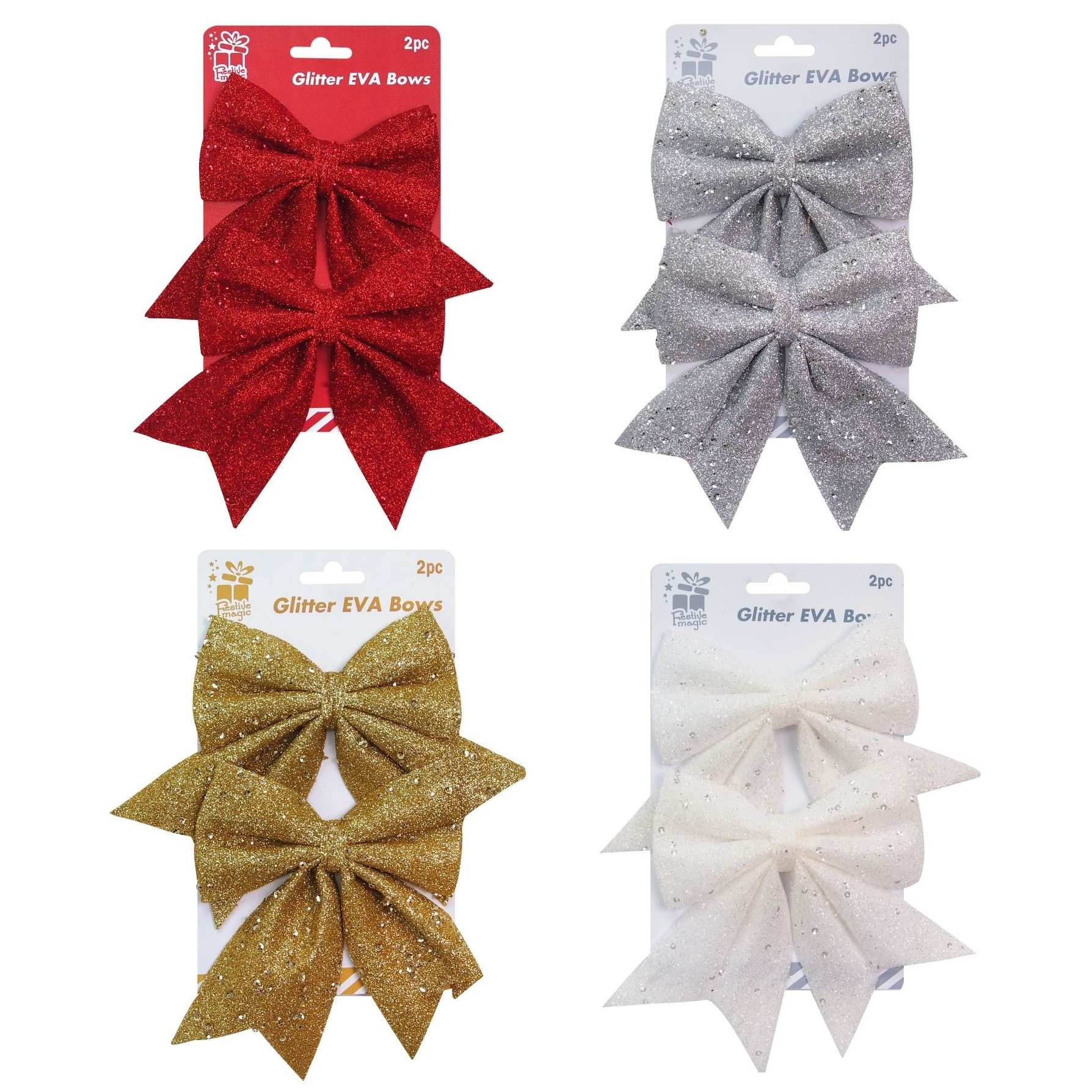 Glitter Sequins Bows Christmas Tree Decoration Ornament Red Silver ...