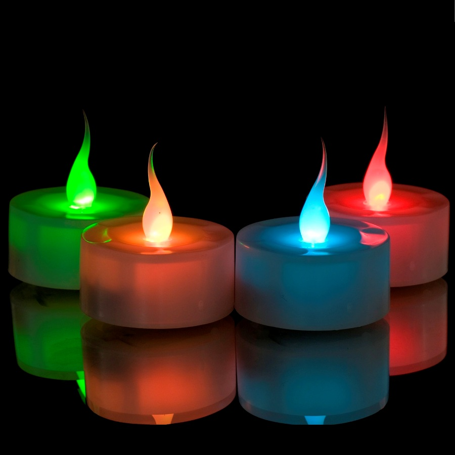 6 x led colour changing flickering mood tea lights flameless battery operated ebay. Black Bedroom Furniture Sets. Home Design Ideas